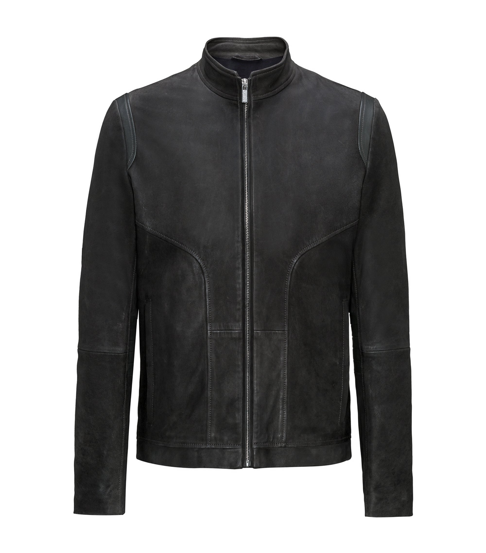 Leather biker jacket in a slim fit, Dark Grey