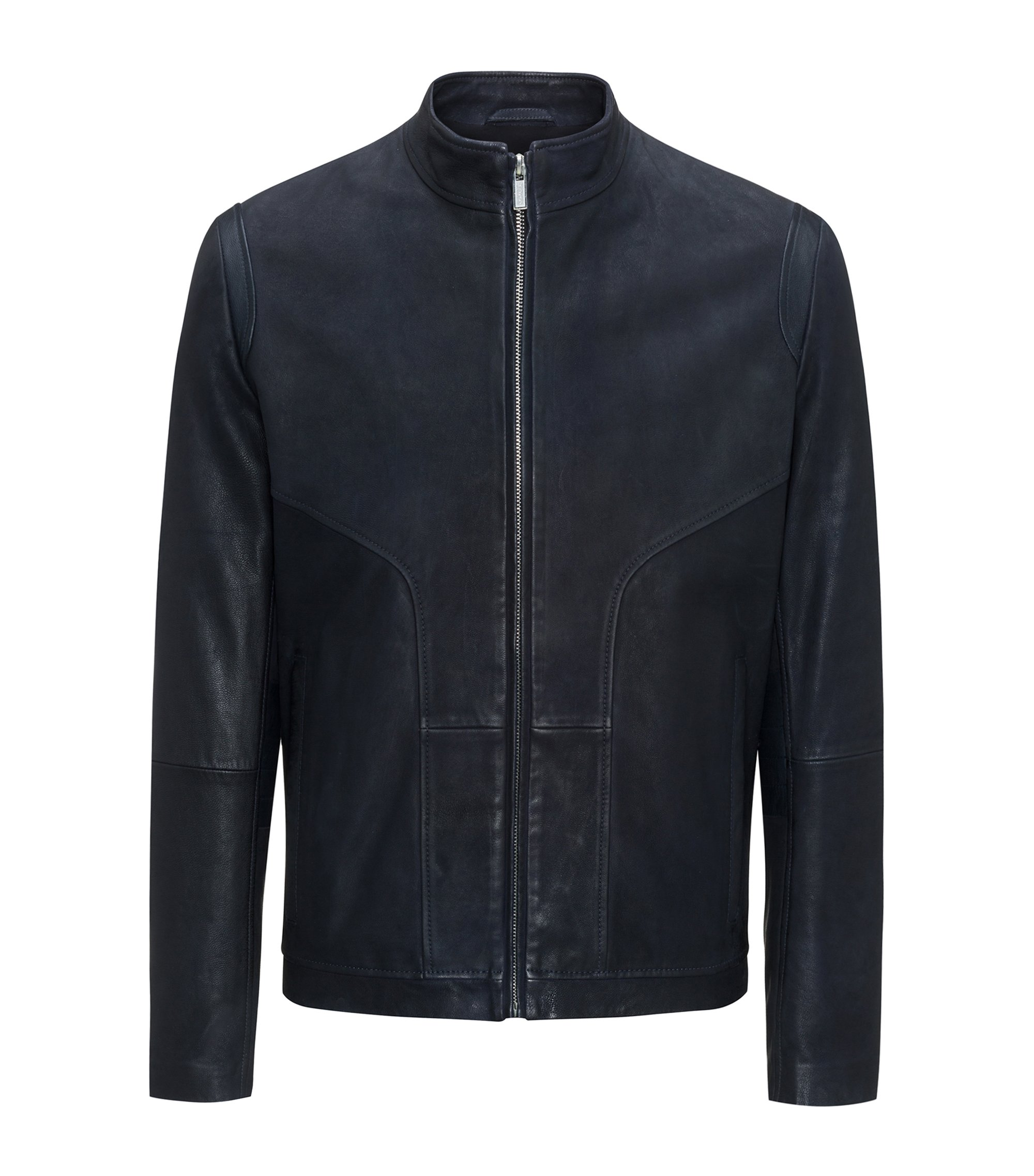 Leather biker jacket in a slim fit, Dark Blue