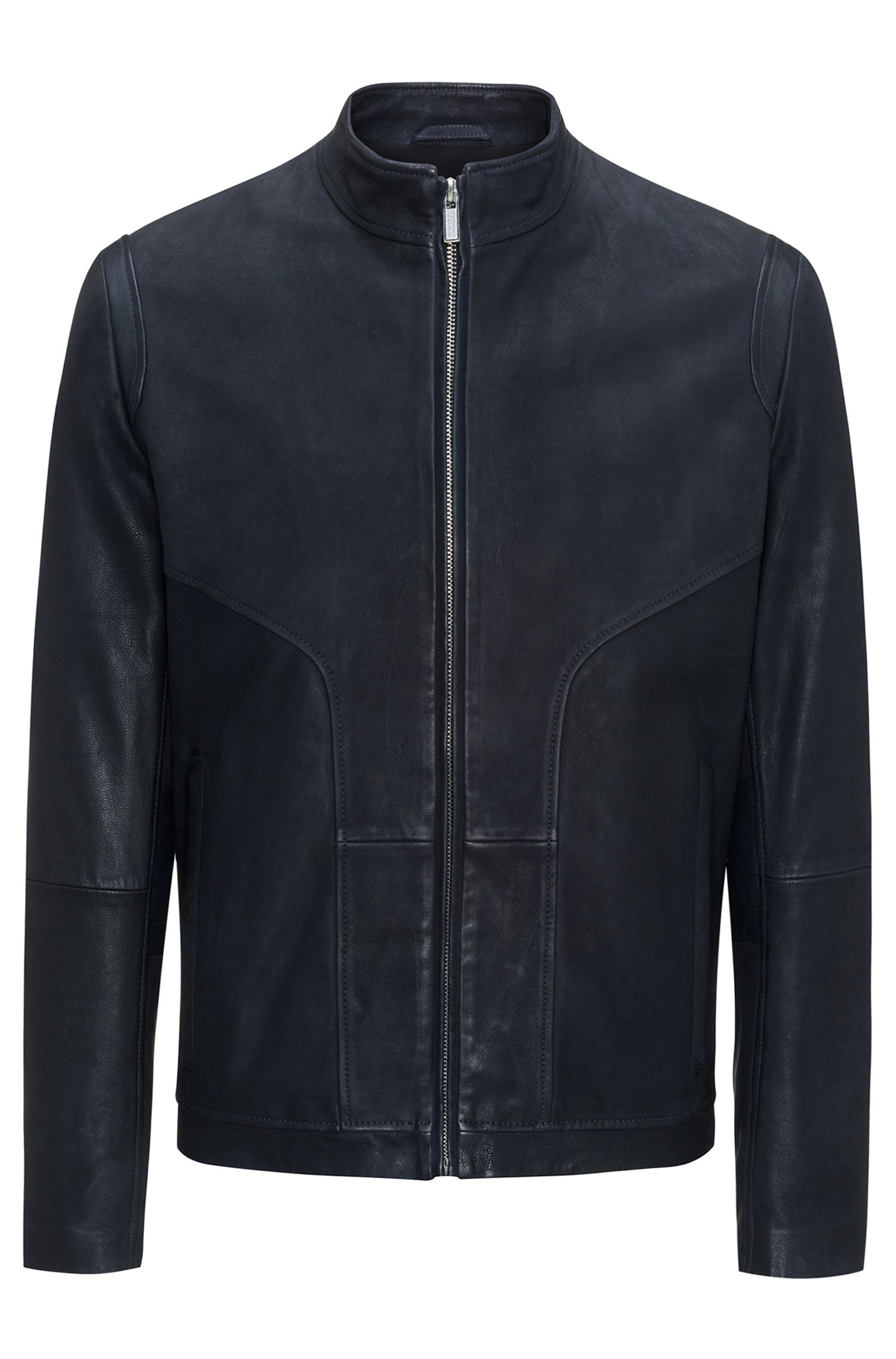 Giubbotto biker slim fit in pelle