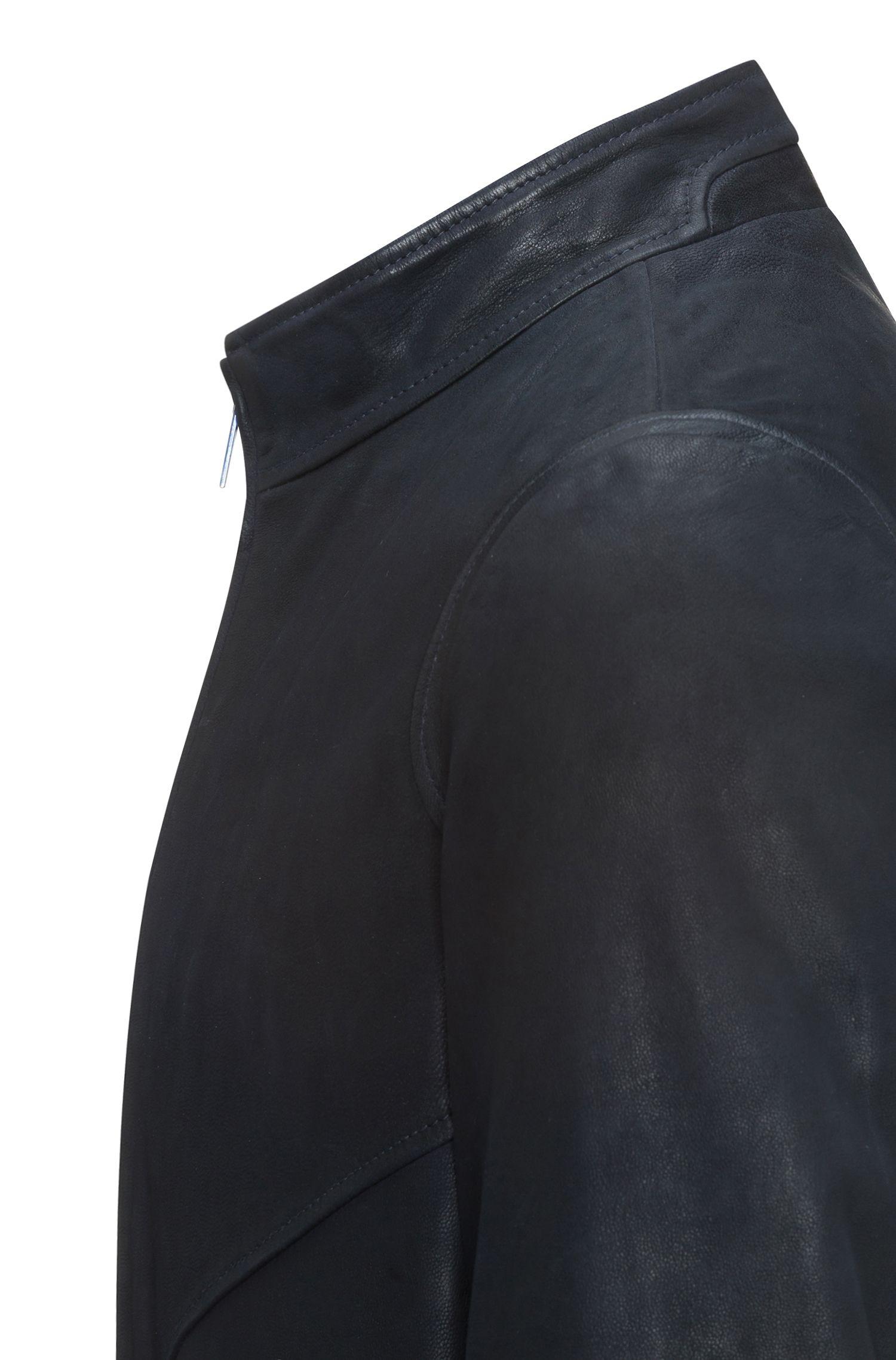 Slim-Fit Bikerjacke aus Leder