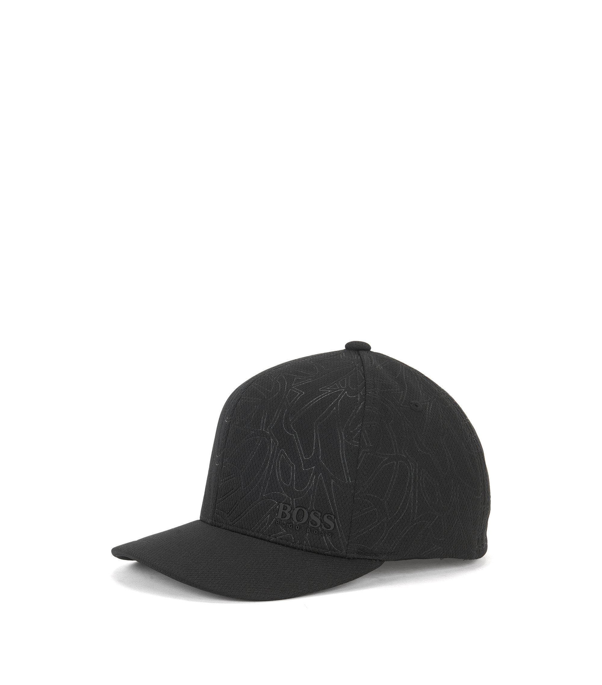 Patterned baseball cap in honeycomb jersey , Black
