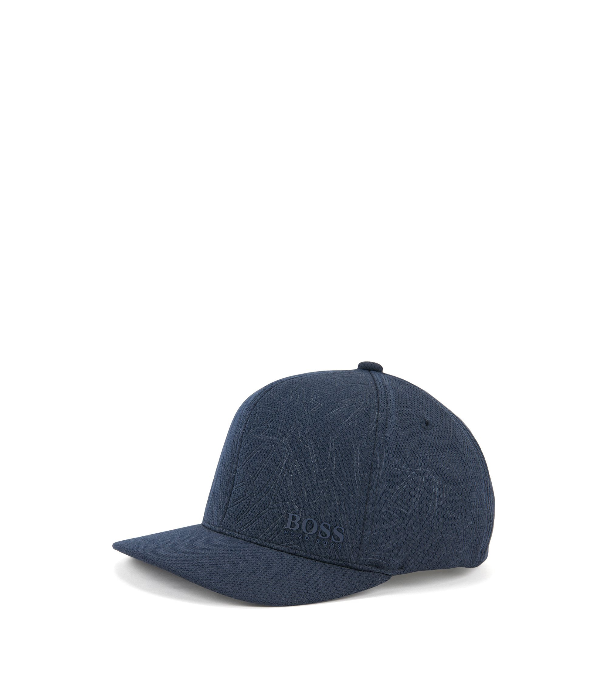 Patterned baseball cap in honeycomb jersey , Dark Blue