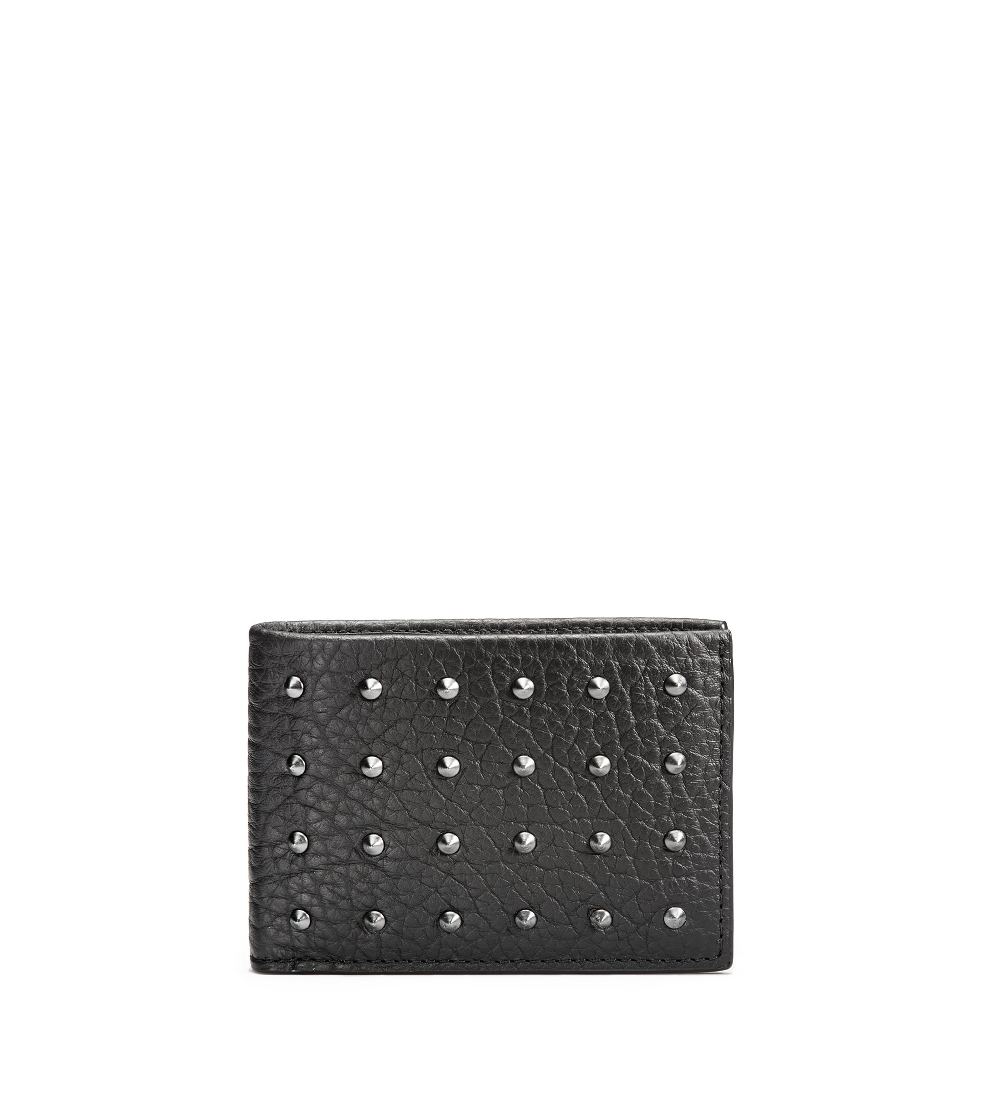 Billfold wallet in studded grainy leather, Black