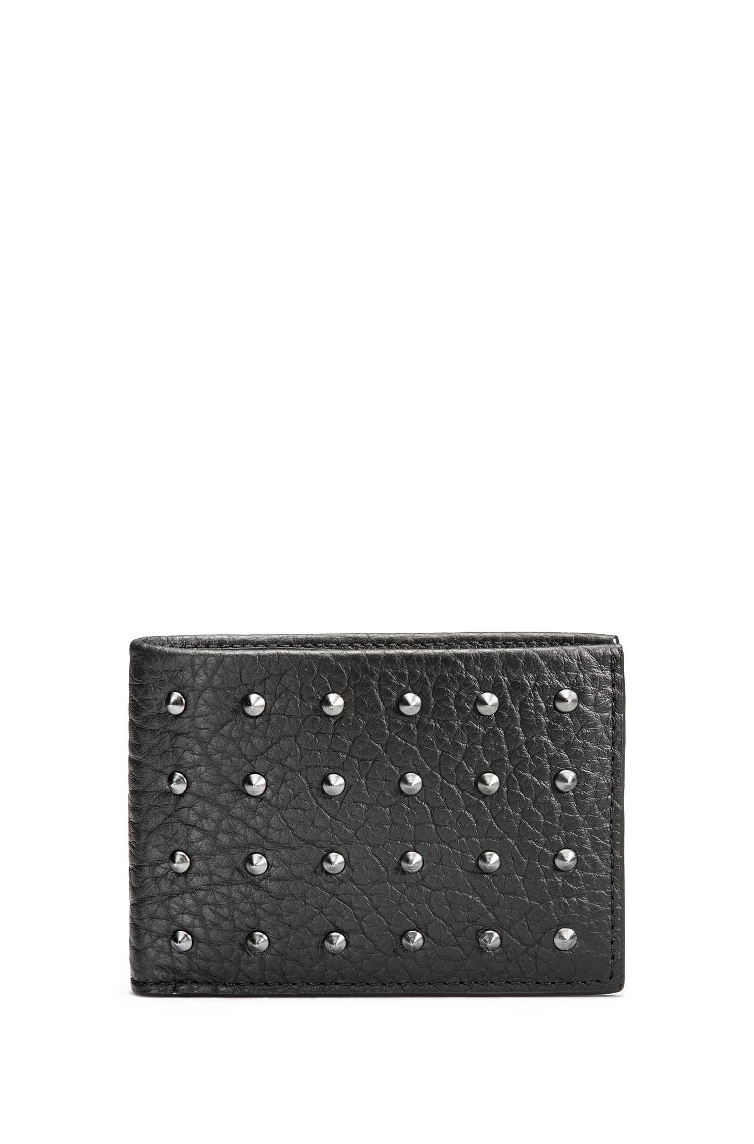Billfold wallet in studded grainy leather