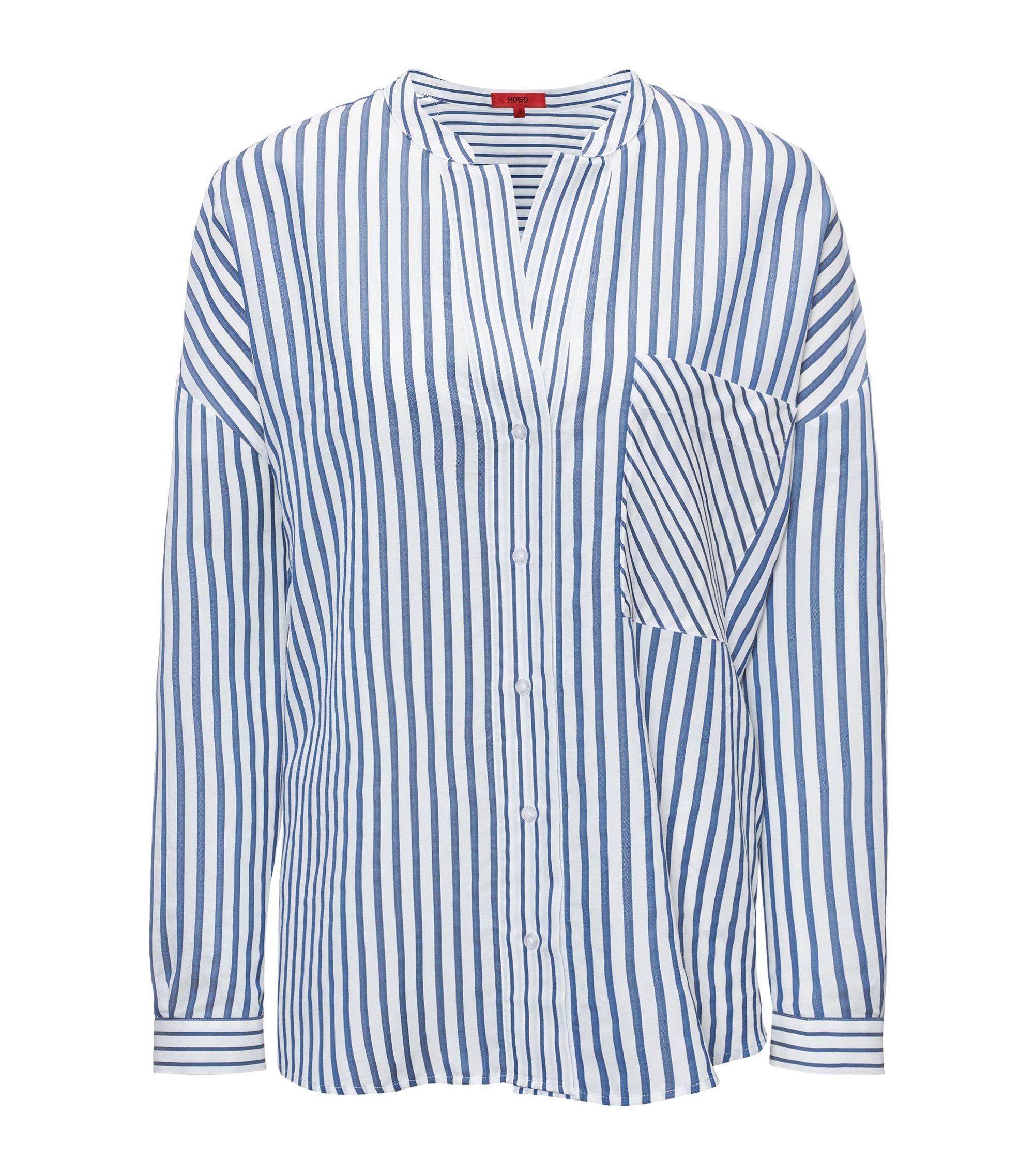 Gestreifte Oversized Bluse mit Stehkragen, Gemustert