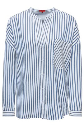 Oversized-fit striped blouse with stand collar, Patterned