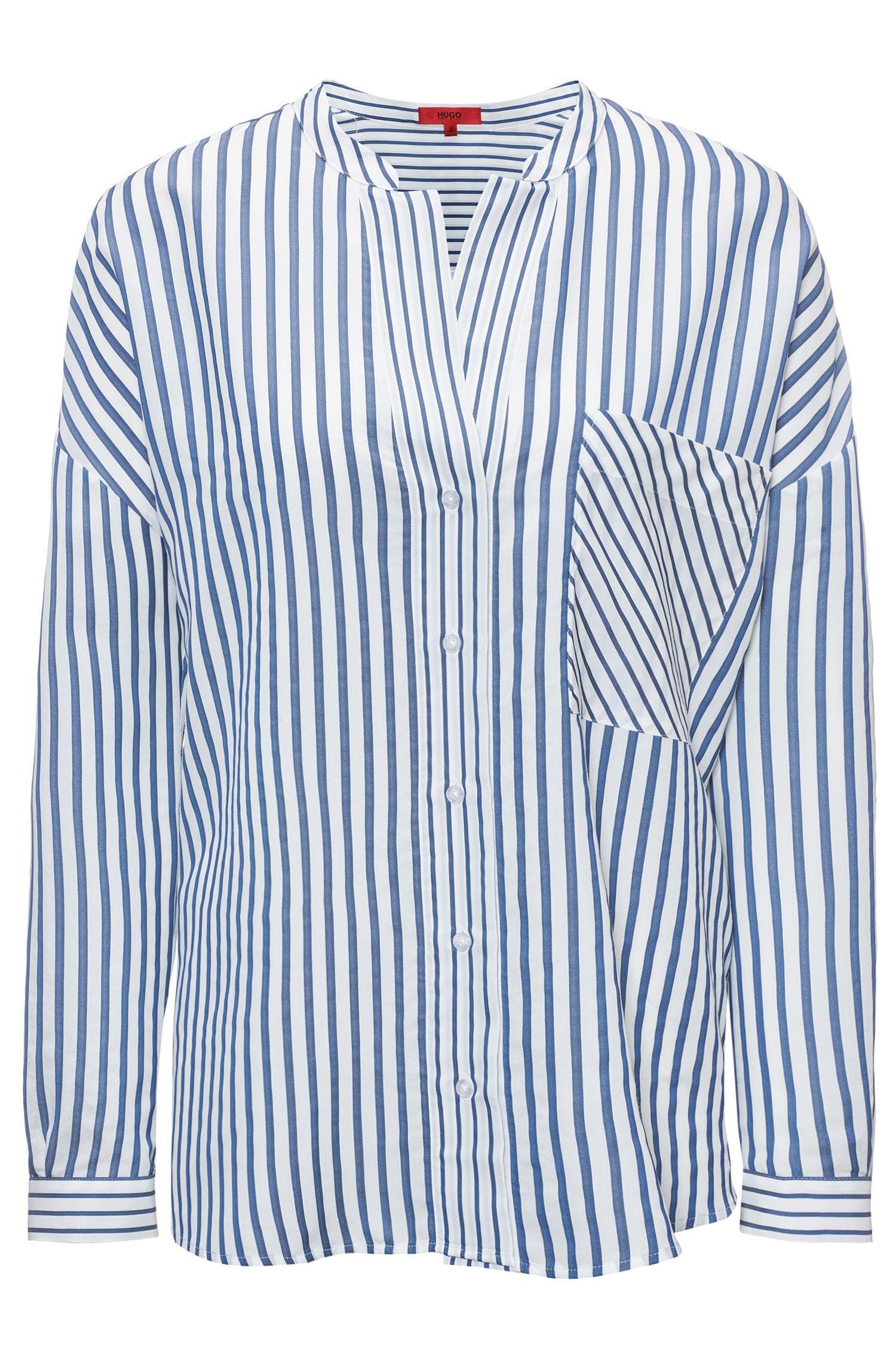 Gestreifte Oversized Bluse mit Stehkragen