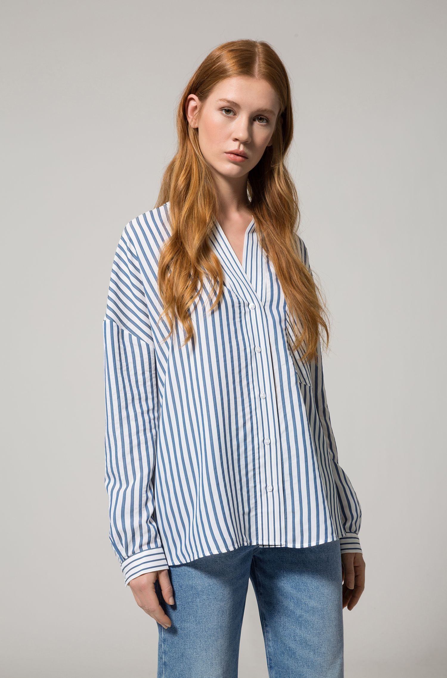 Oversized-fit striped blouse with stand collar