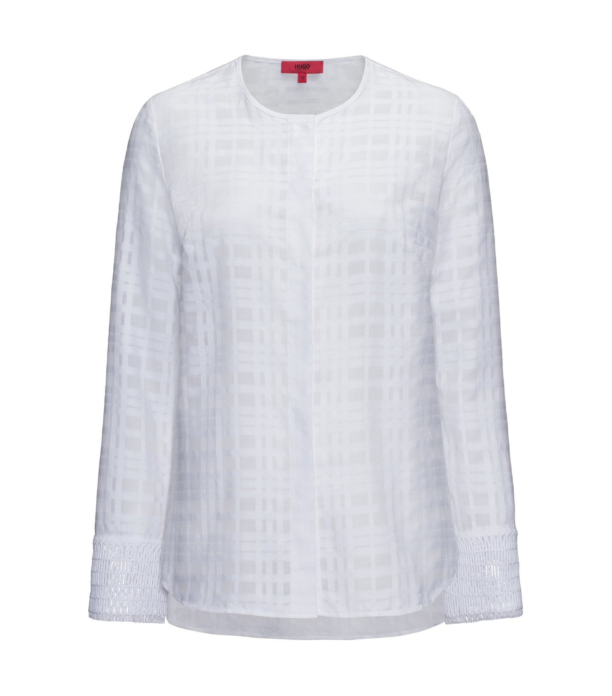 Collarless cotton blouse with macramé cuff detailing, White
