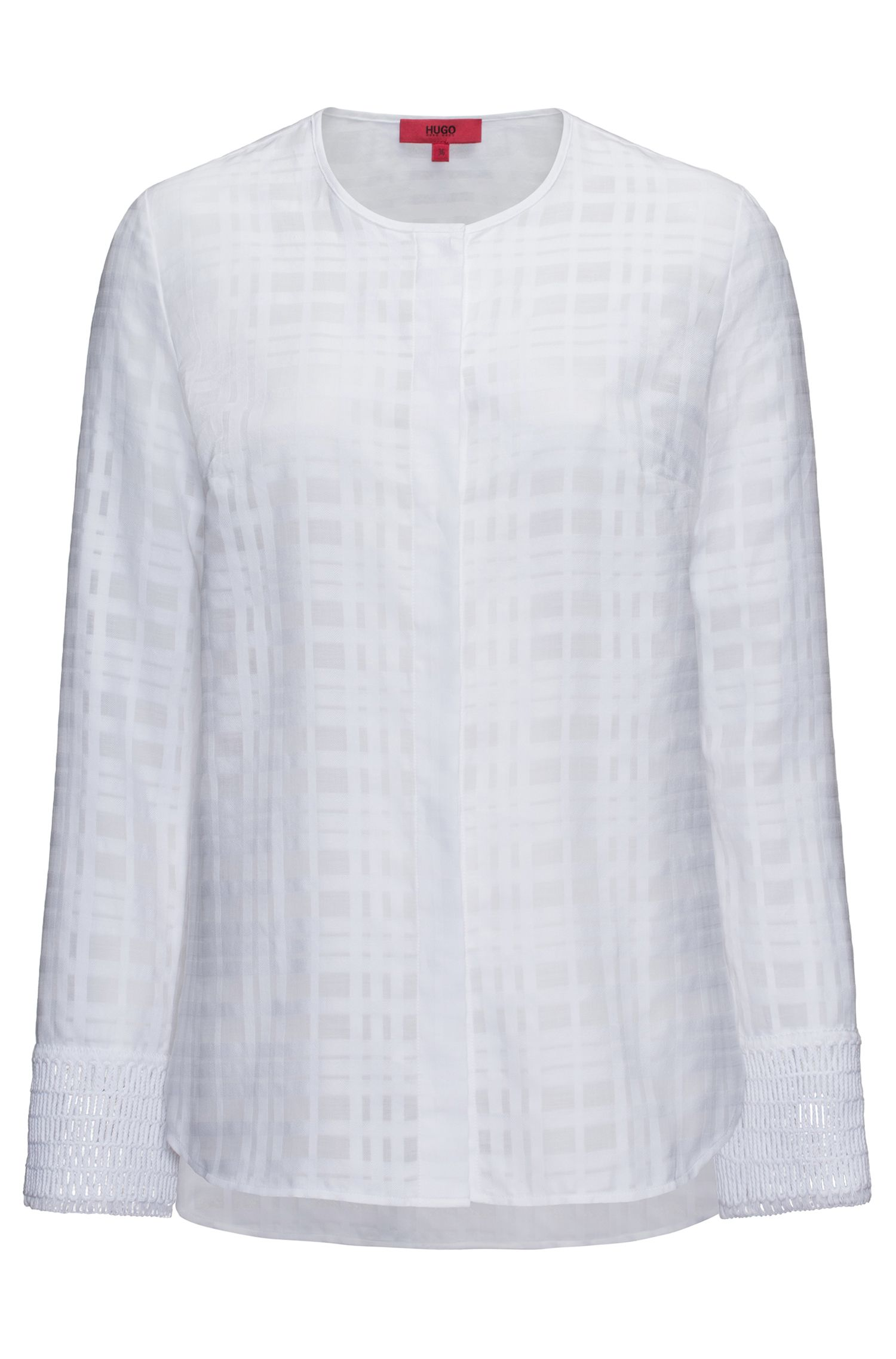 Collarless cotton blouse with macramé cuff detailing