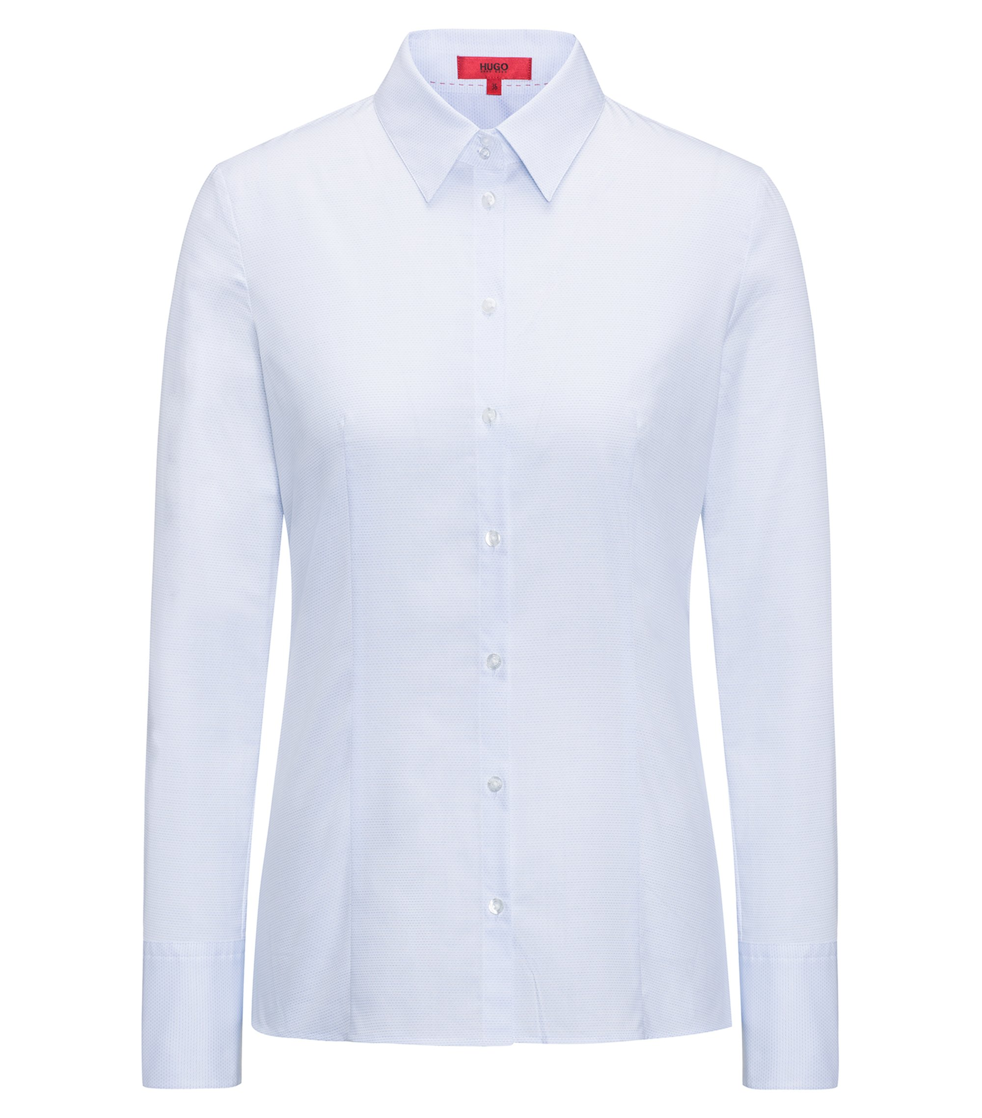 Camicia slim fit in cotone dobby, Celeste
