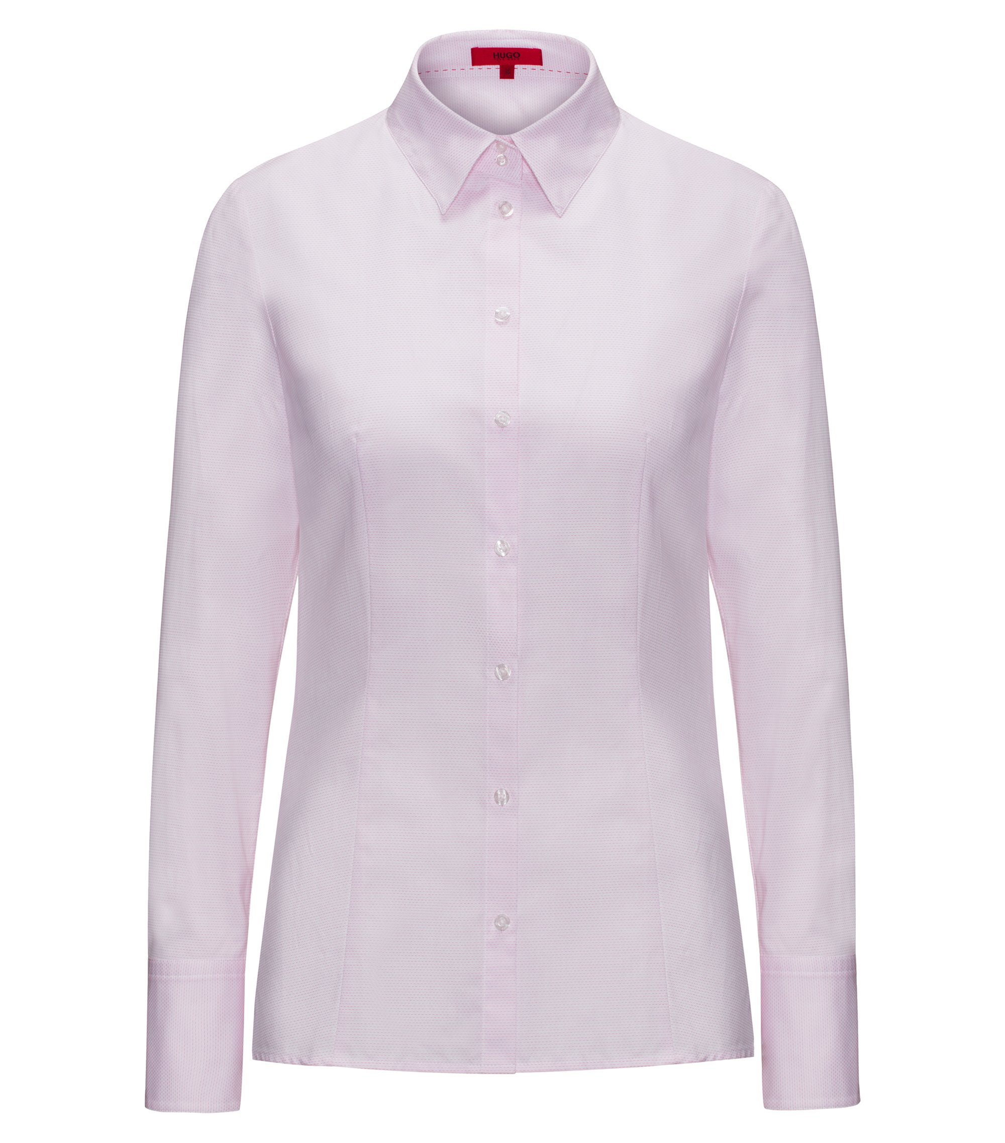 Slim-fit shirt in dobby cotton, light pink
