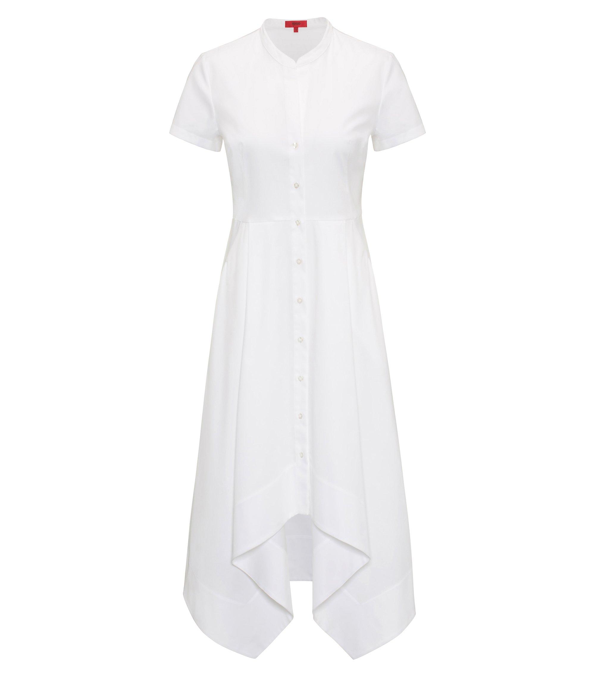Hemdblusenkleid aus Stretch-Baumwolle, Weiß