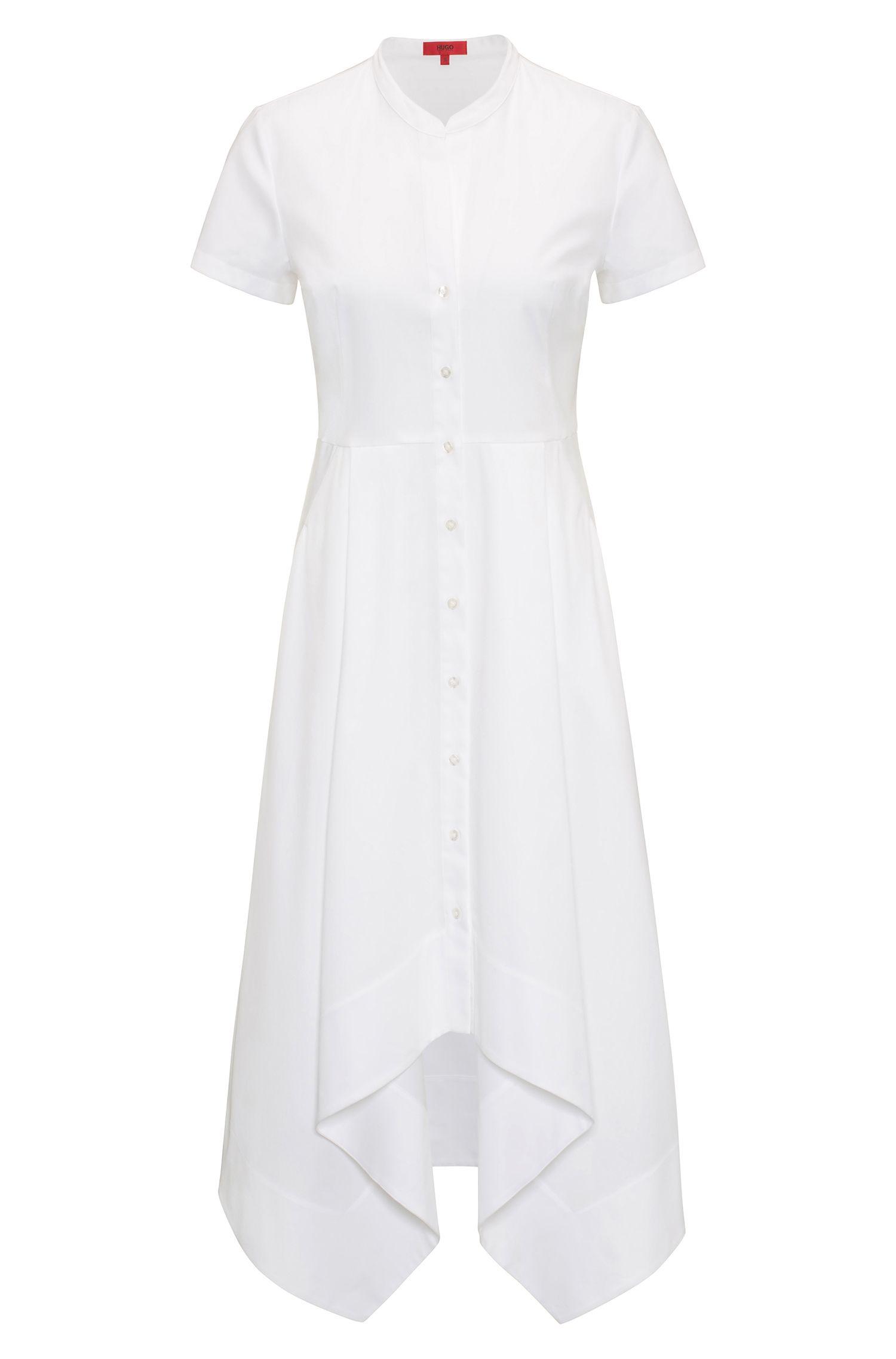 Vestido camisero de corte midi en algodón elástico