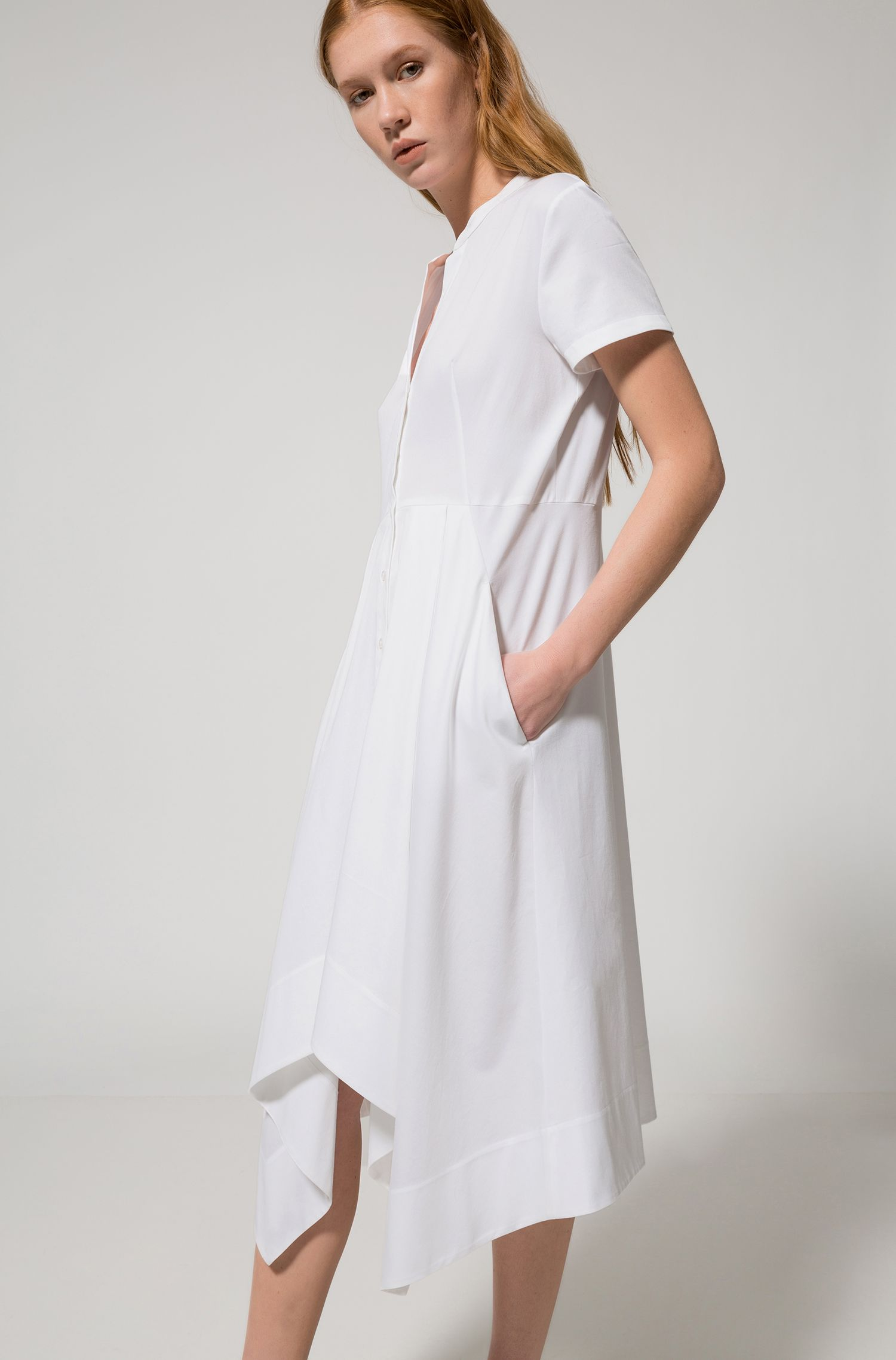 Midi shirt dress in stretch cotton