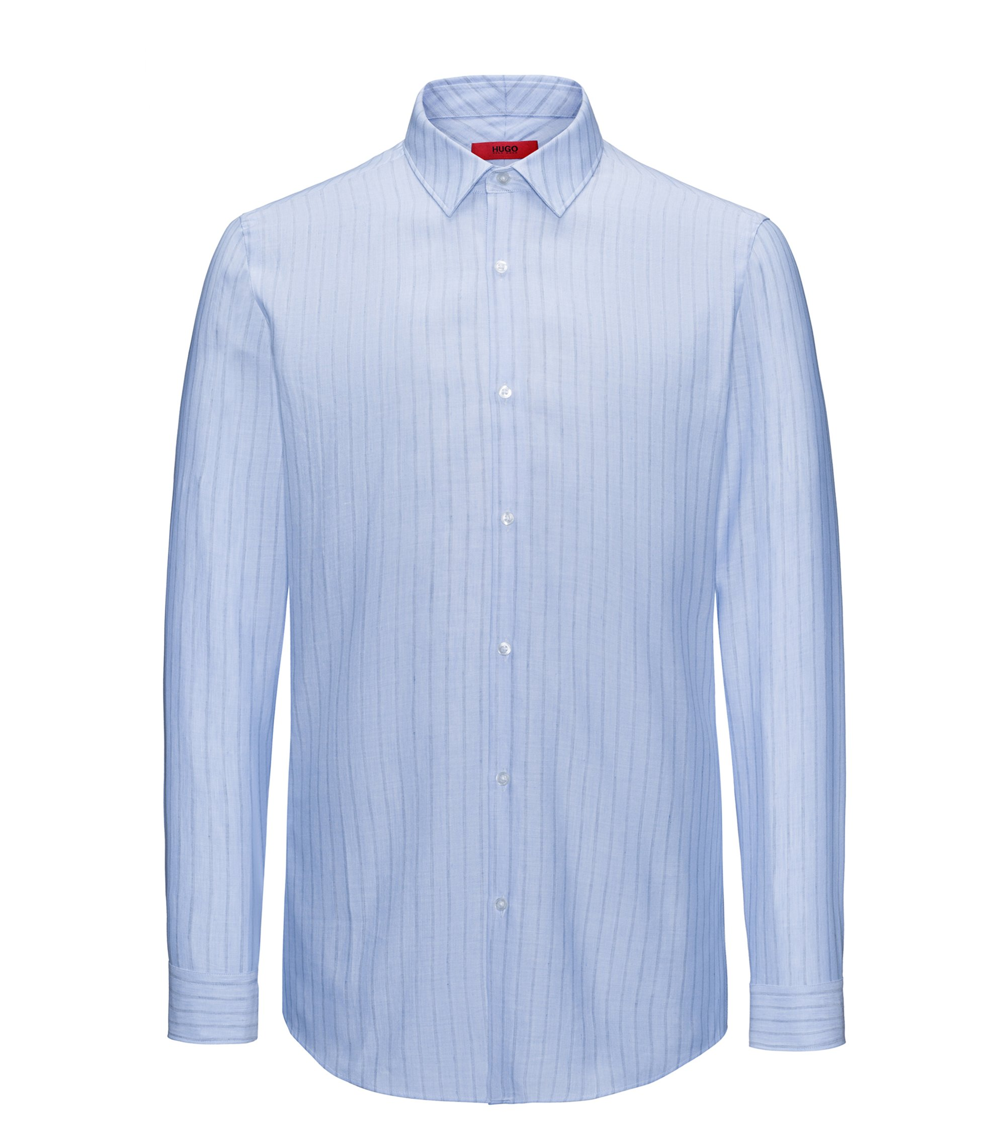 Striped slim-fit Oxford shirt in cotton blended with linen, Light Blue