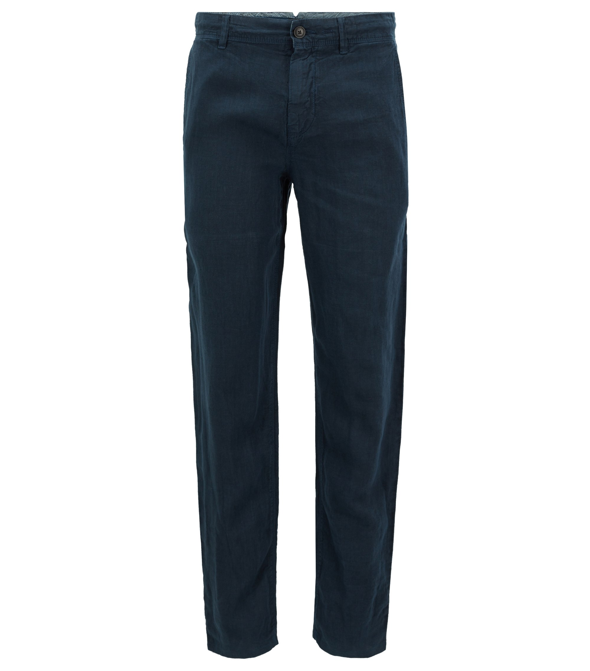 Pantaloni tapered fit in lino sovratinto, Blu scuro