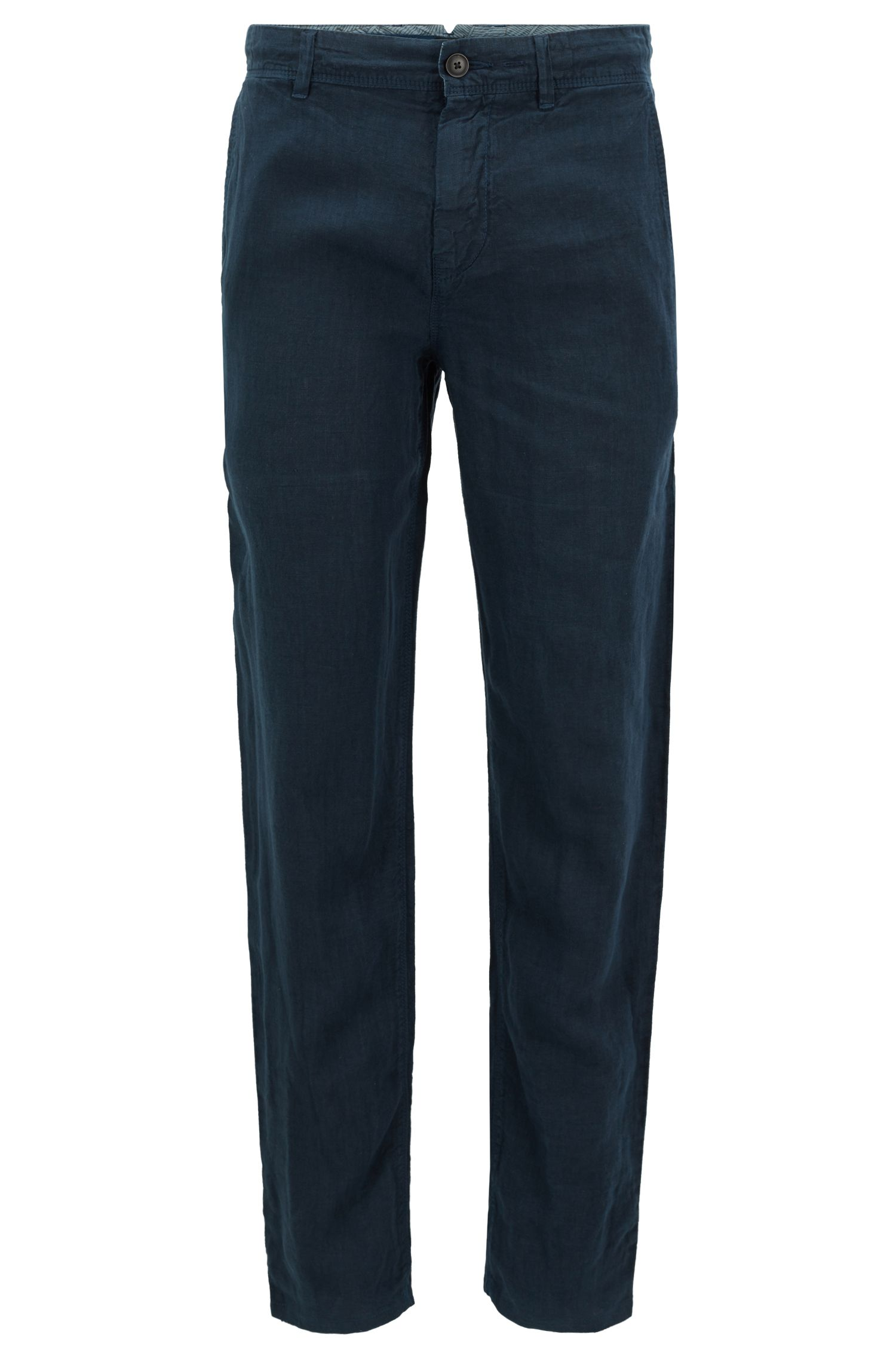 Pantaloni tapered fit in lino sovratinto