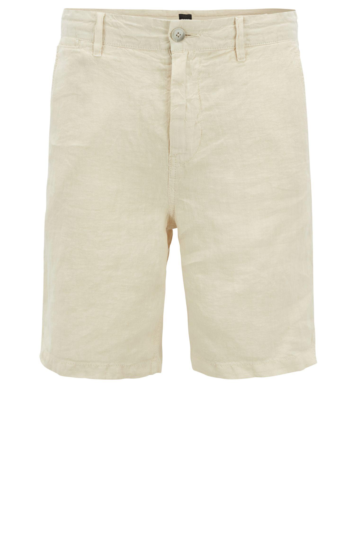 Overgeverfde linnen short met trekkoord aan de binnenkant