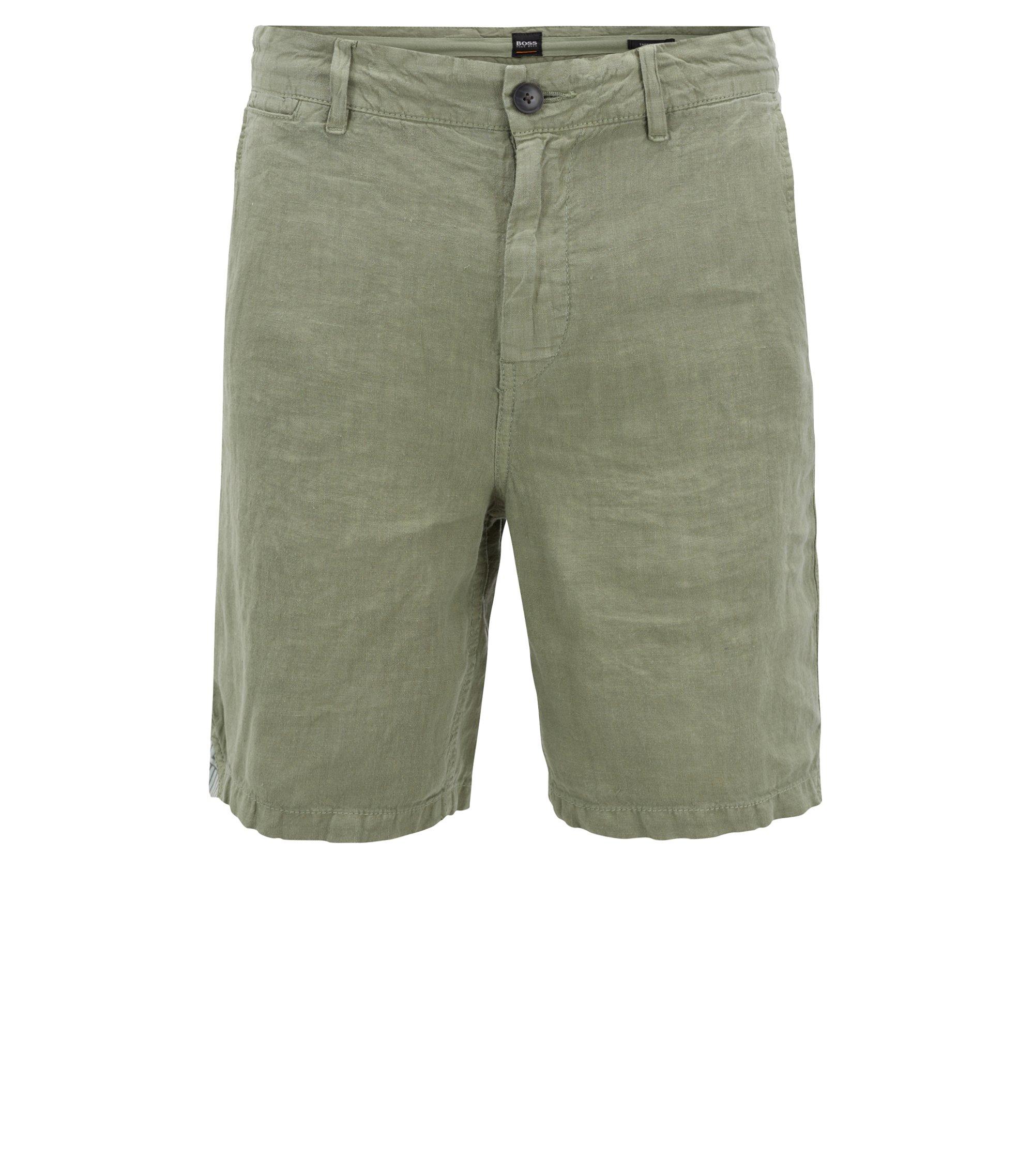 Overdyed linen shorts with inner drawstring, Light Green