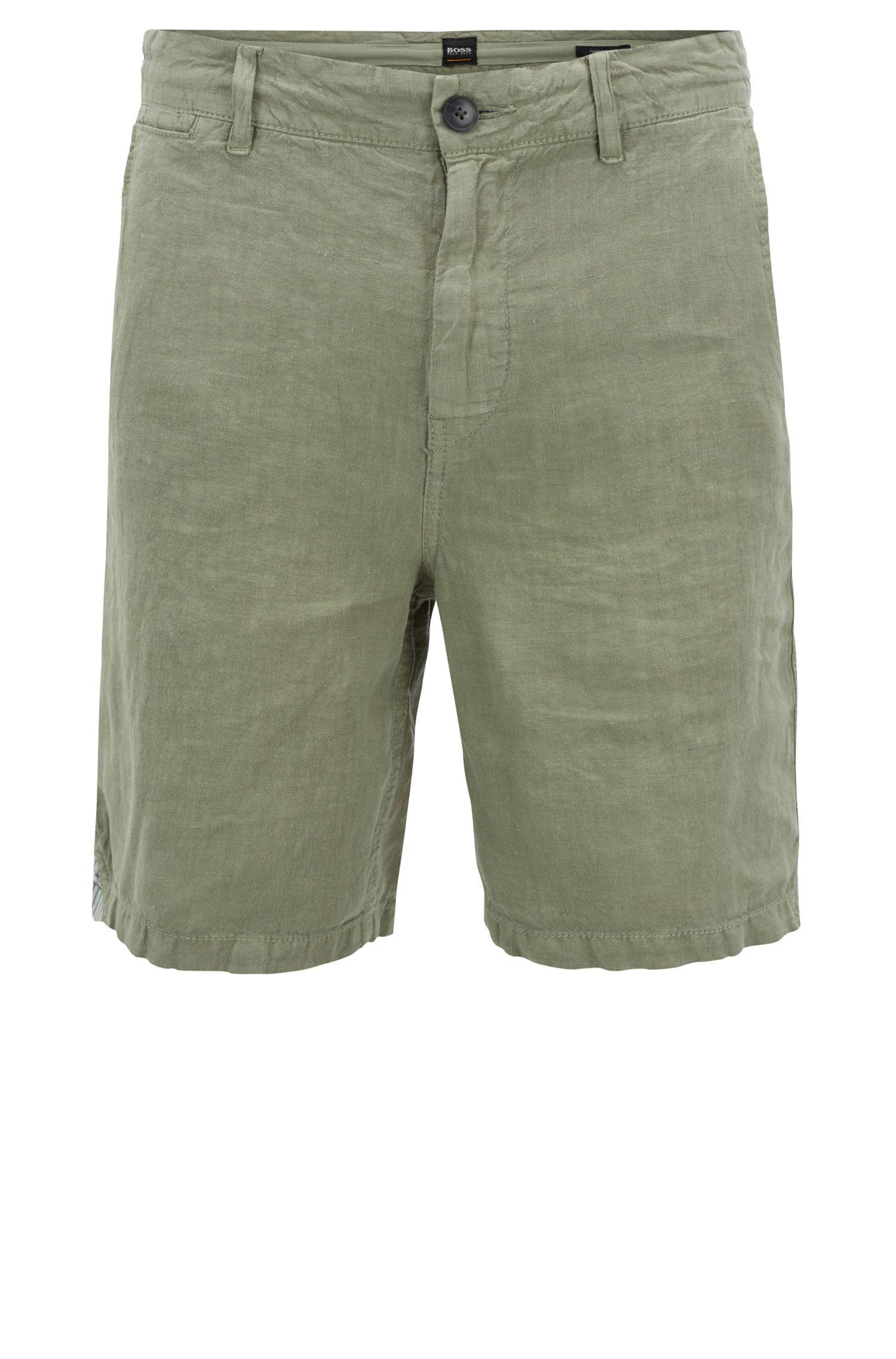 Shorts con teñido especial de lino con cordón interior en la cintura