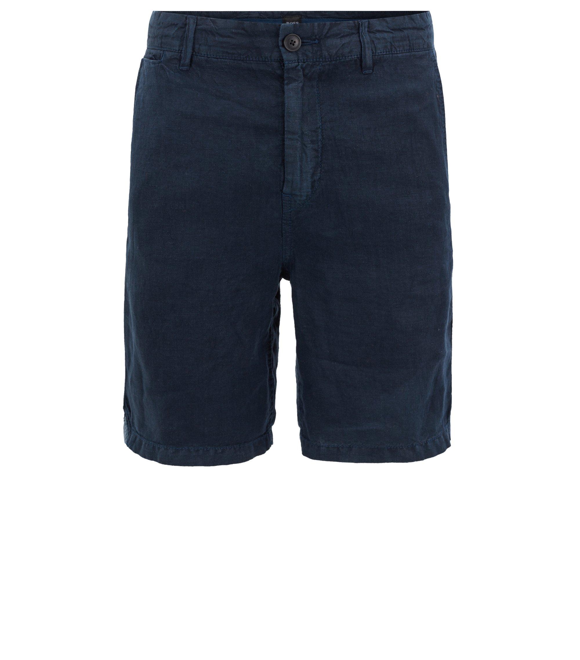 Overdyed linen shorts with inner drawstring, Dark Blue