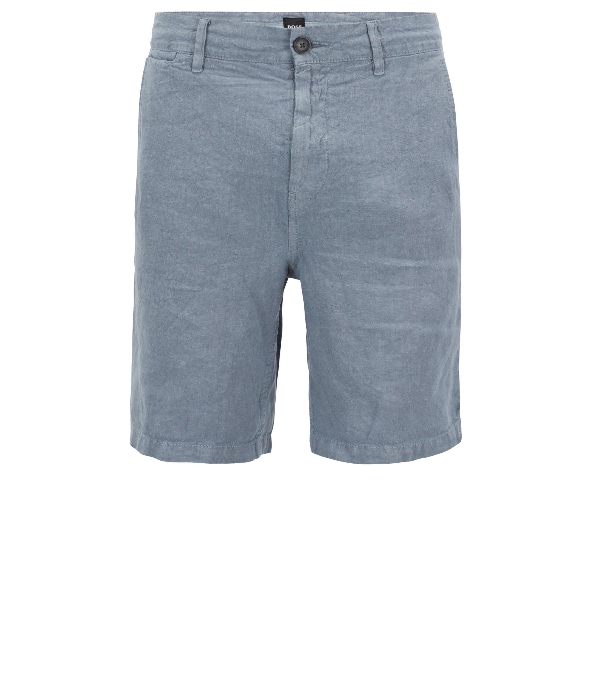 Shorts aus überfärbtem Leinen mit innen liegendem Tunnelzug, Blau