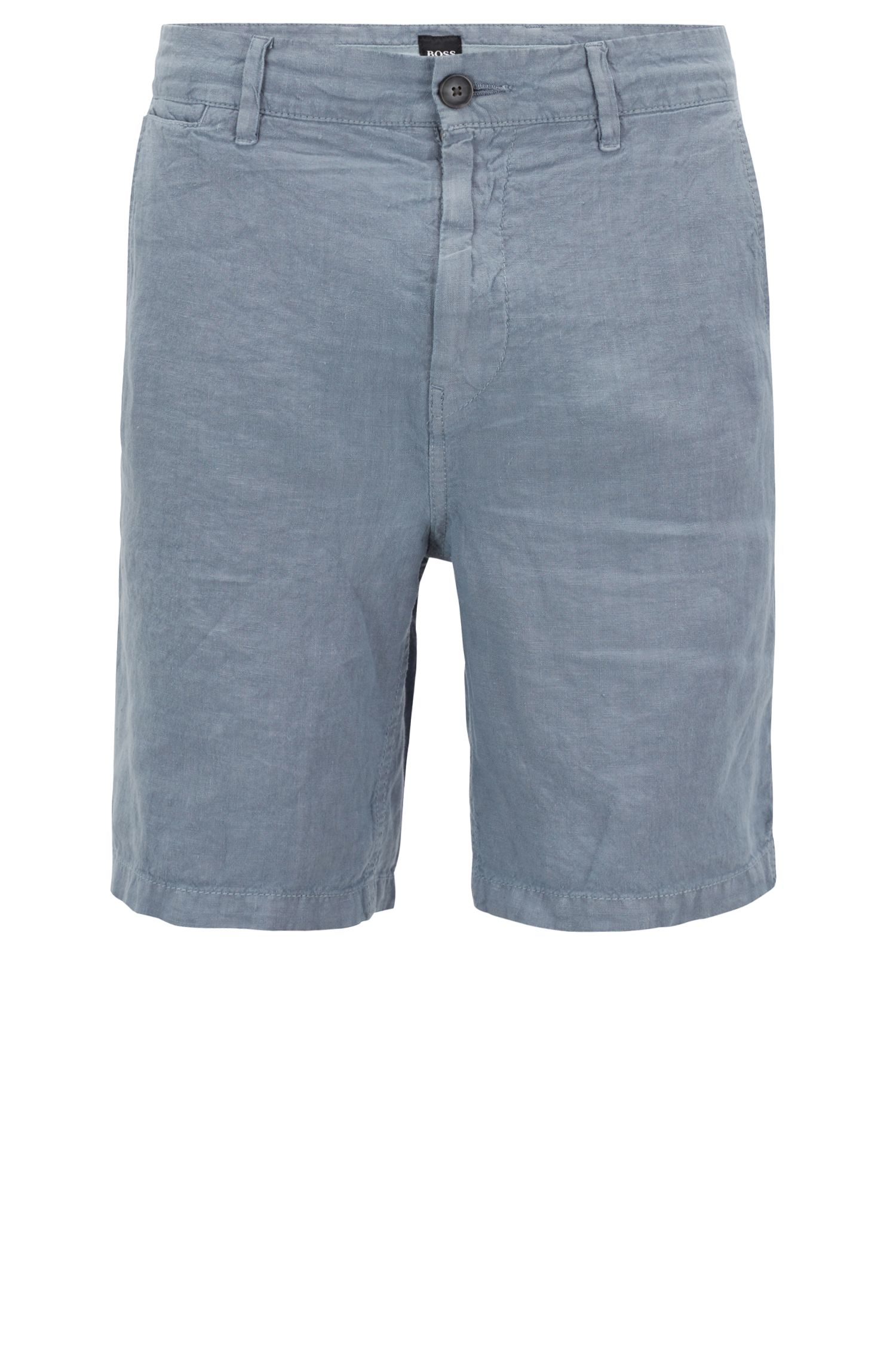 Overdyed linen shorts with inner drawstring