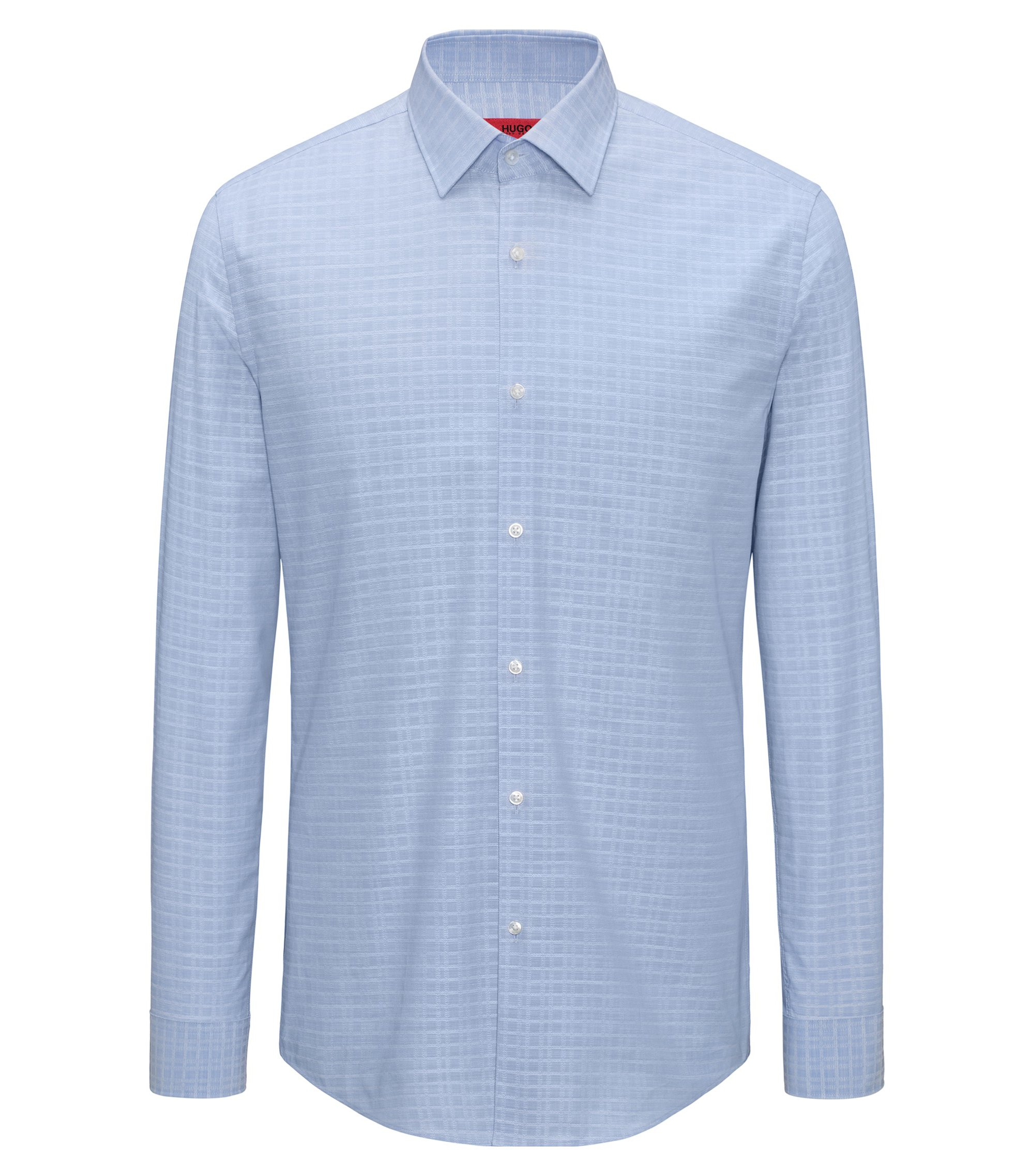 Slim-fit shirt in yarn-dyed Glen-check cotton, Light Blue