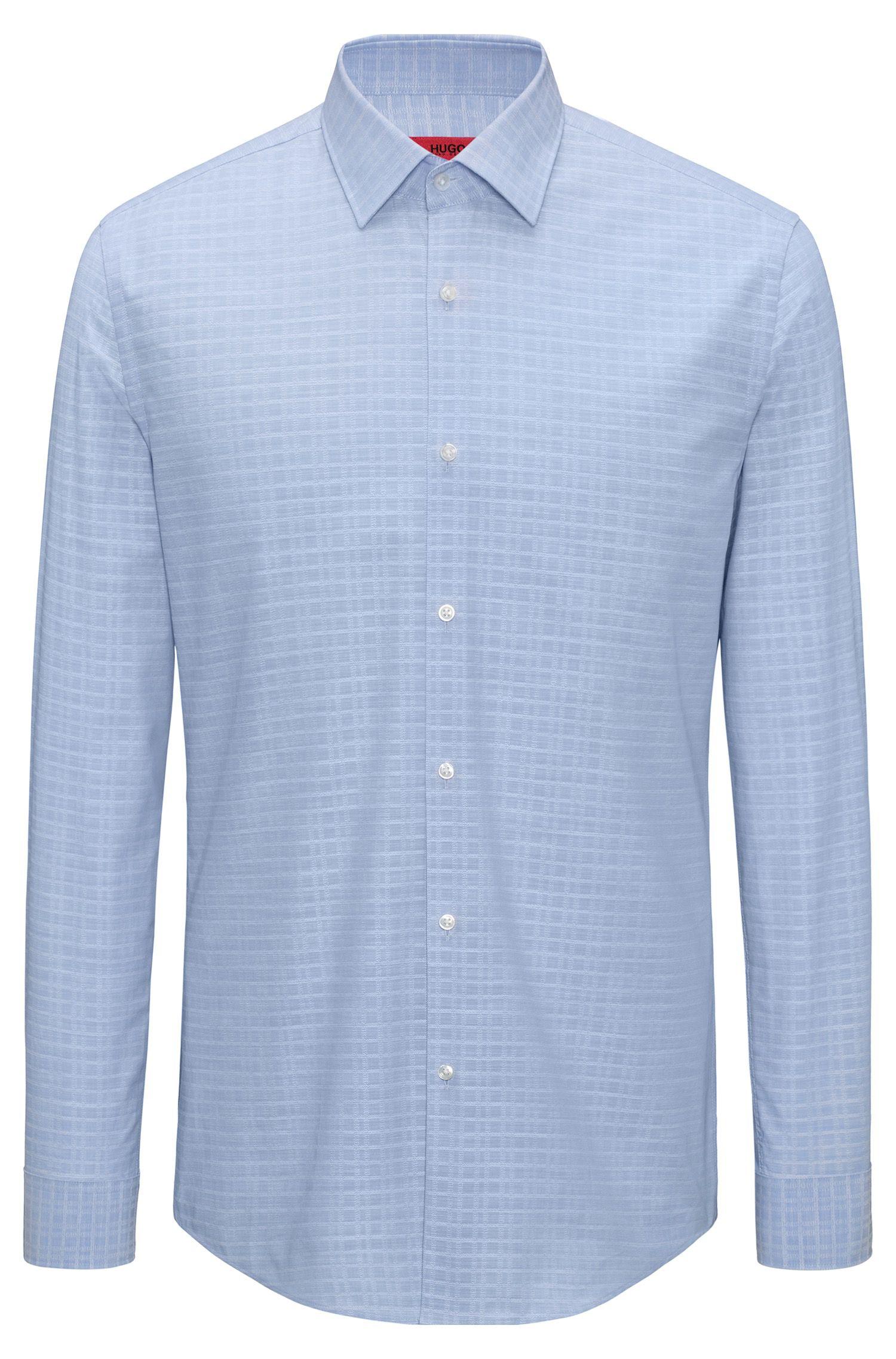 Slim-Fit Hemd aus Baumwolle mit garngefärbtem Glencheck-Muster