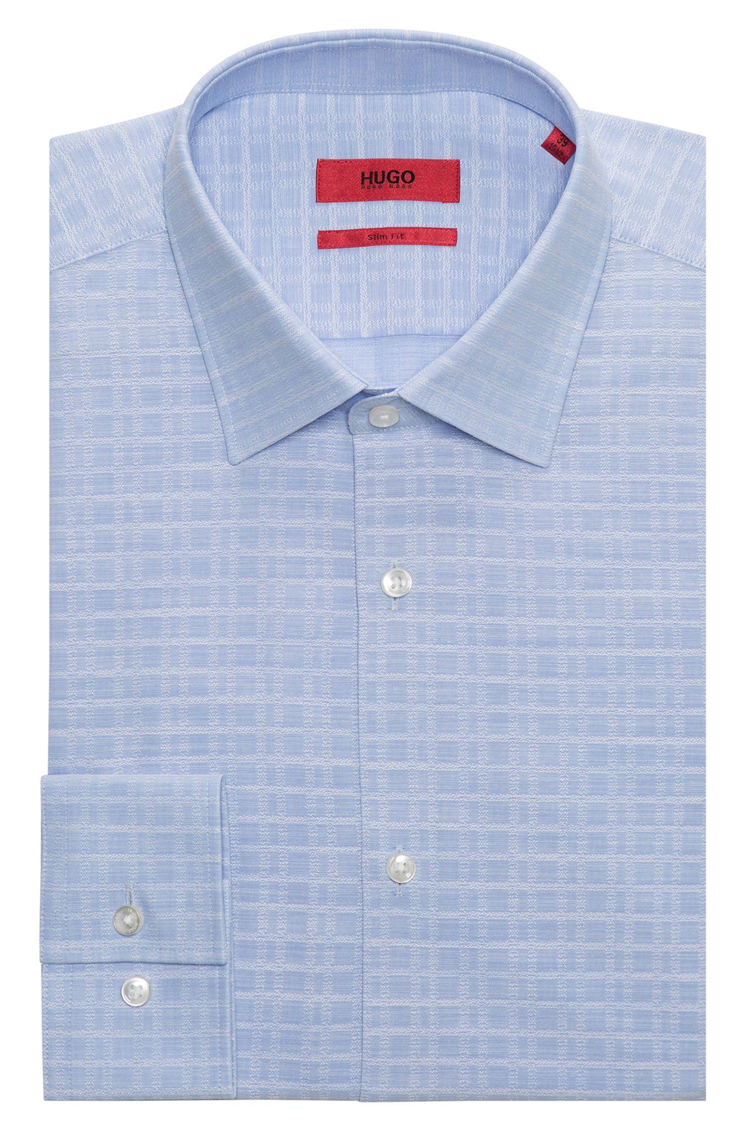 Camicia slim fit in cotone principe di Galles tinto in filo