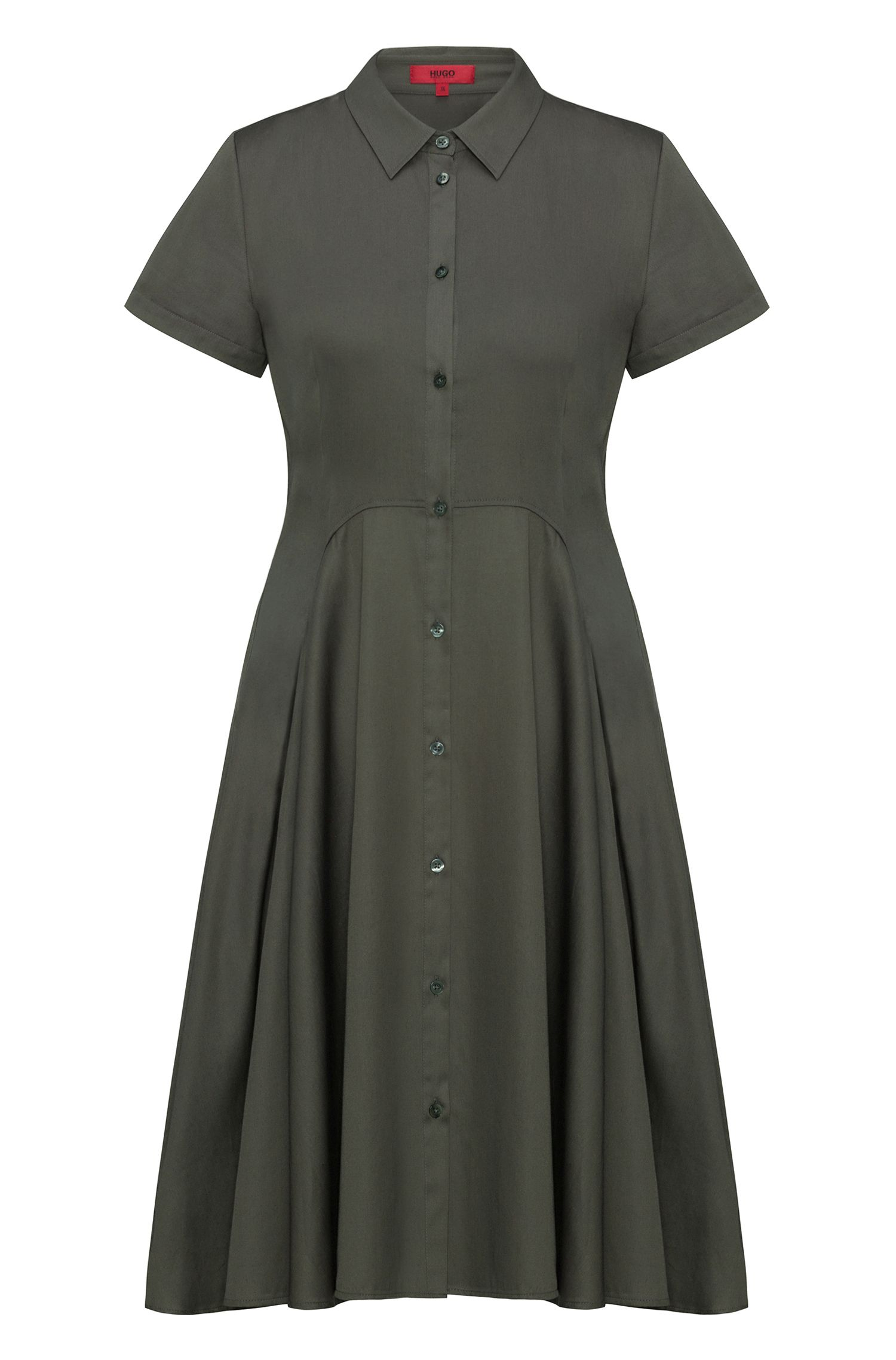 Shirt dress with full skirt in stretch cotton satin