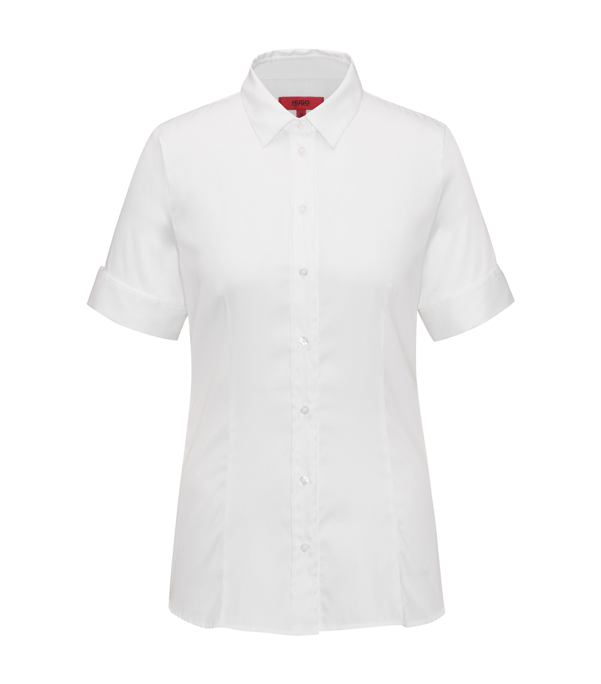 Slim-fit shirt in a yarn-dyed stretch-cotton blend, White