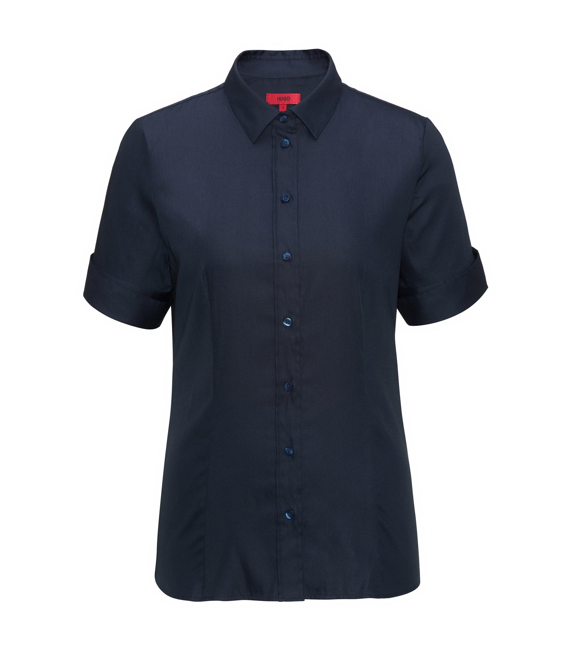Camisa slim fit en mezcla de algodón elástico teñido en hilo, Azul oscuro