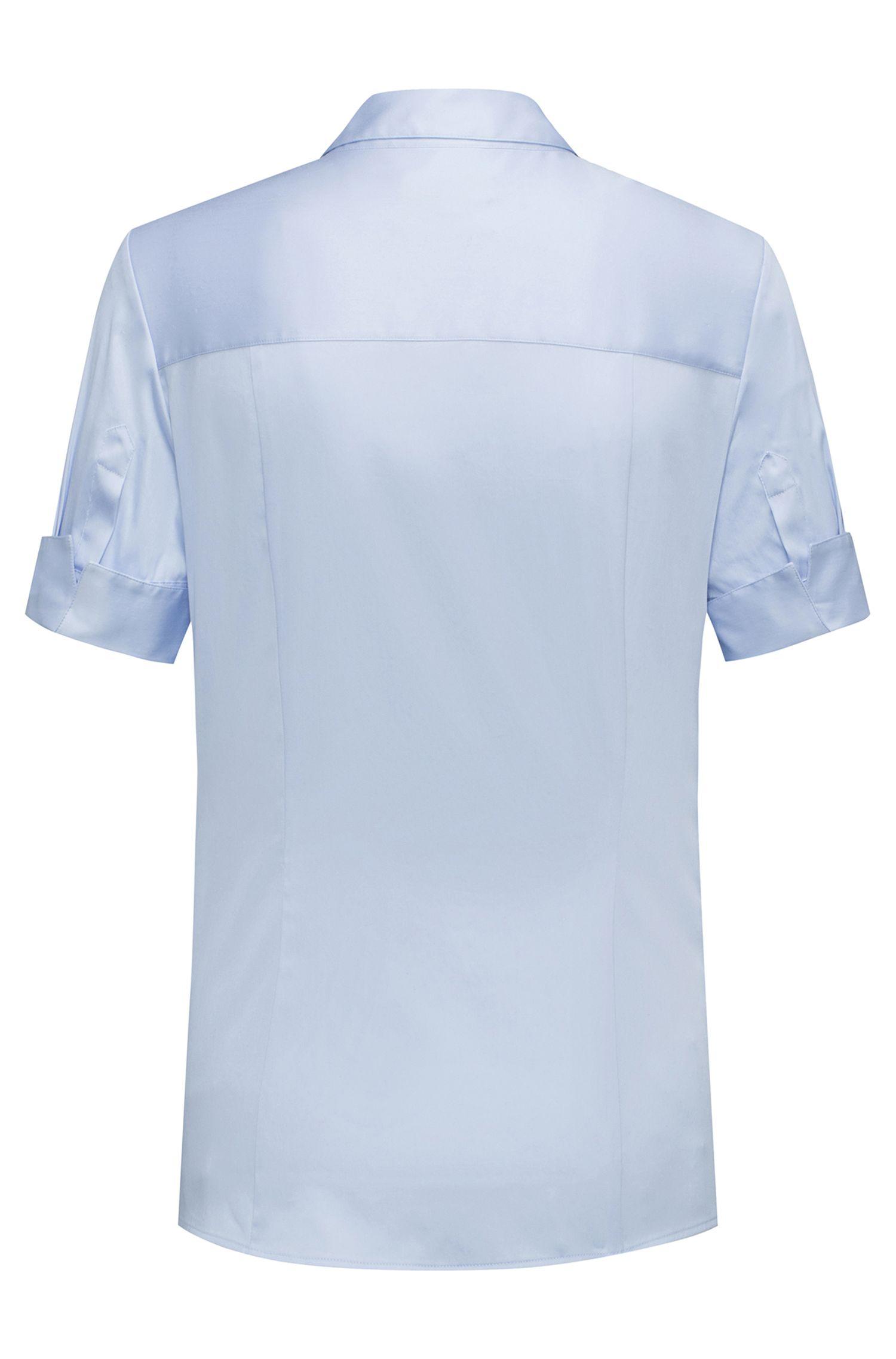 Slim-fit blouse van een garengeverfde stretchkatoenmix