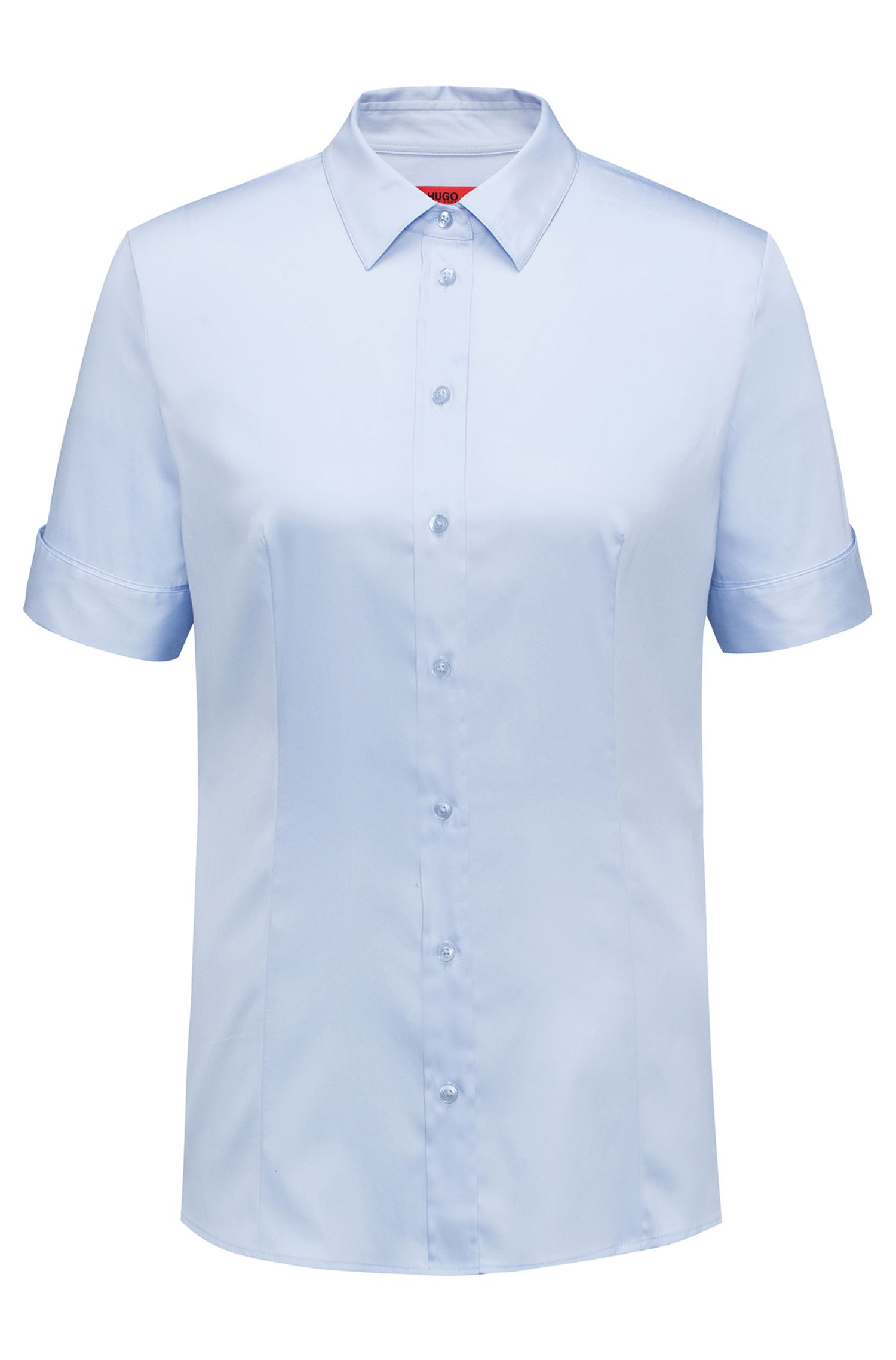 Slim-fit shirt in a yarn-dyed stretch-cotton blend