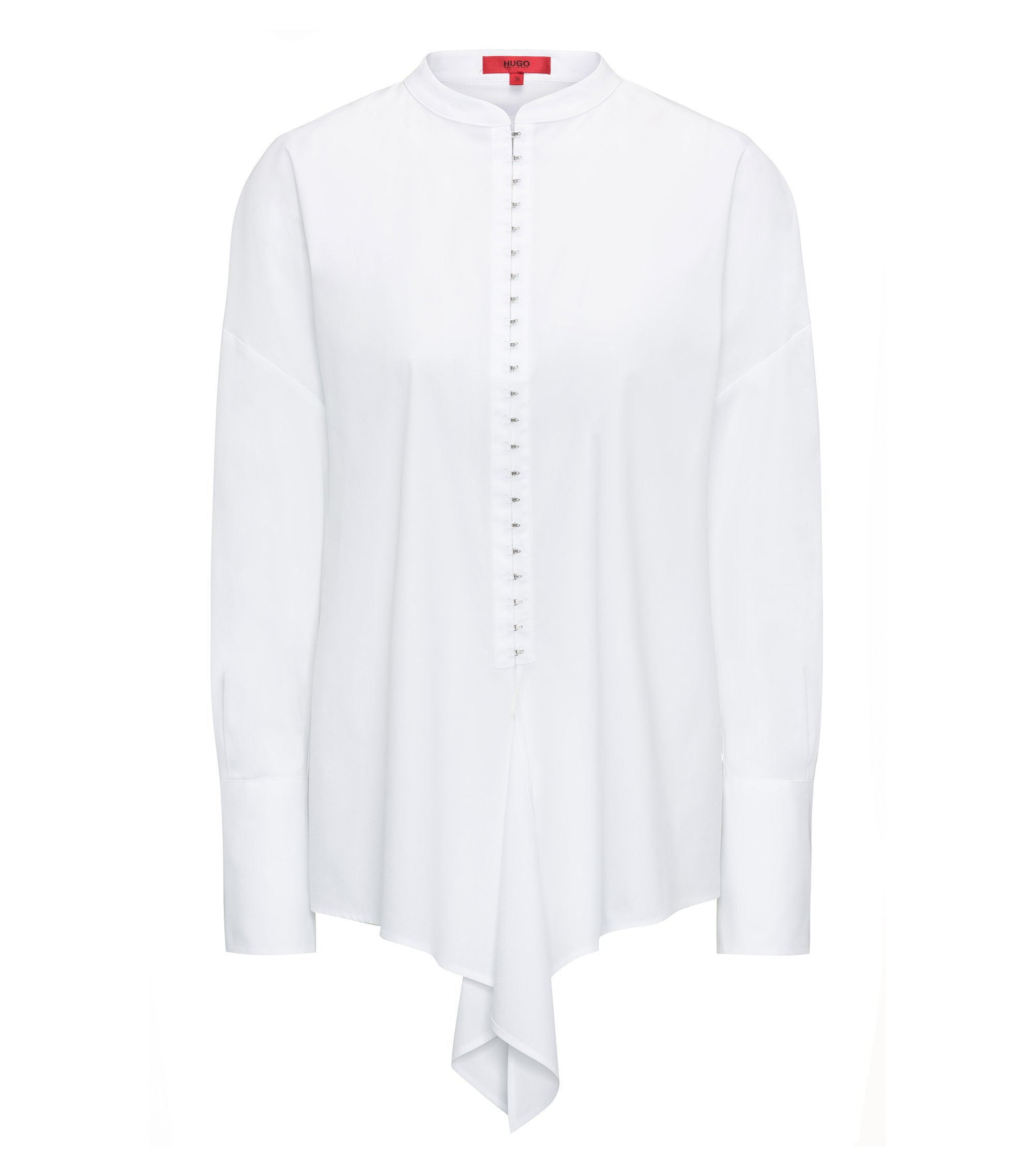 Oversized blouse in stretch cotton poplin, White