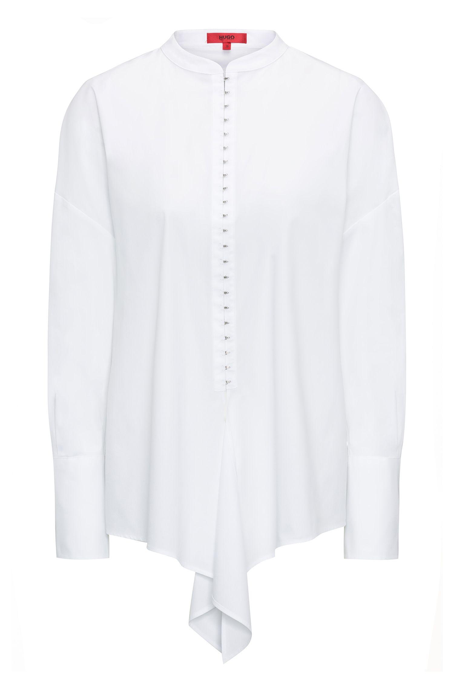 Blusa extragrande en popelín de algodón elástico