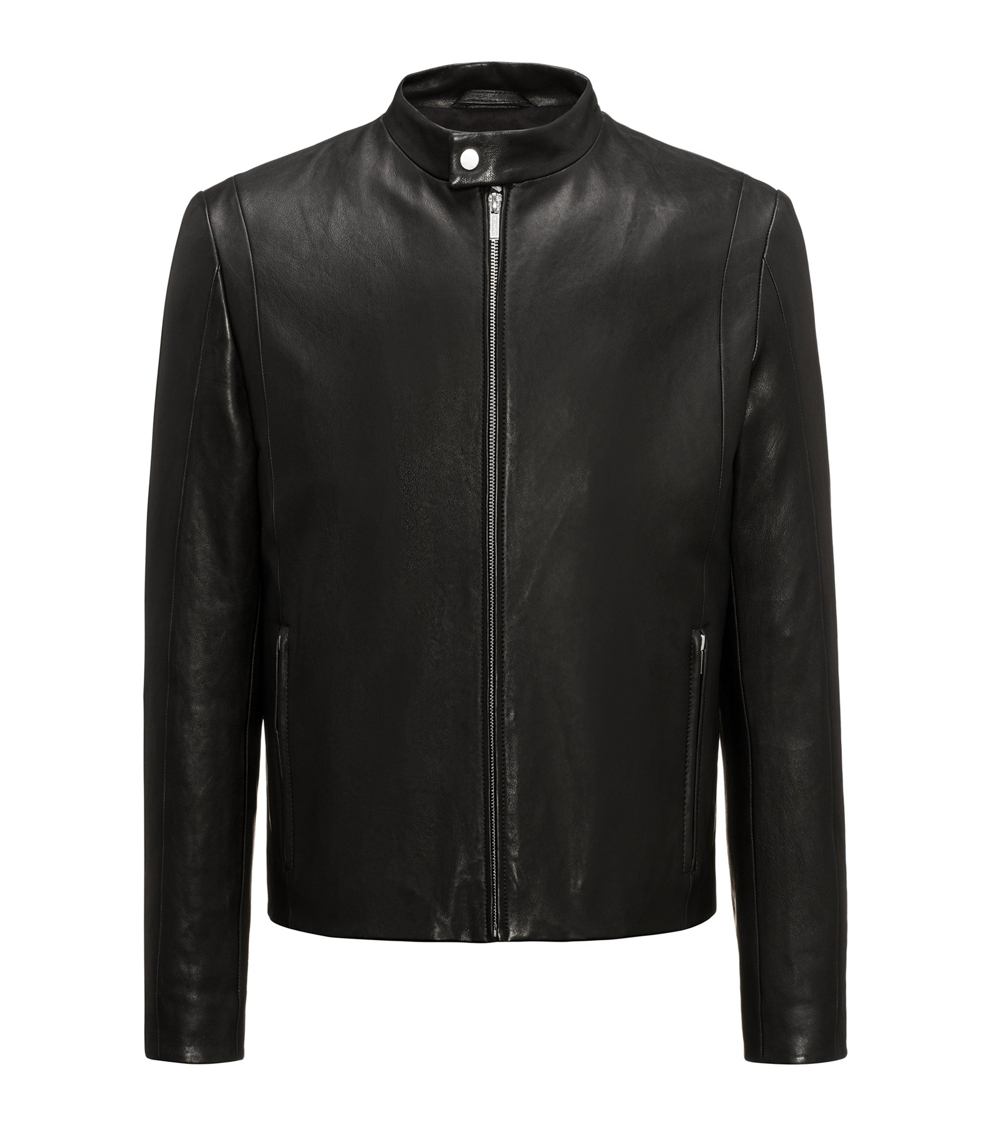 Streamlined lambskin nappa leather jacket in a slim fit, Black