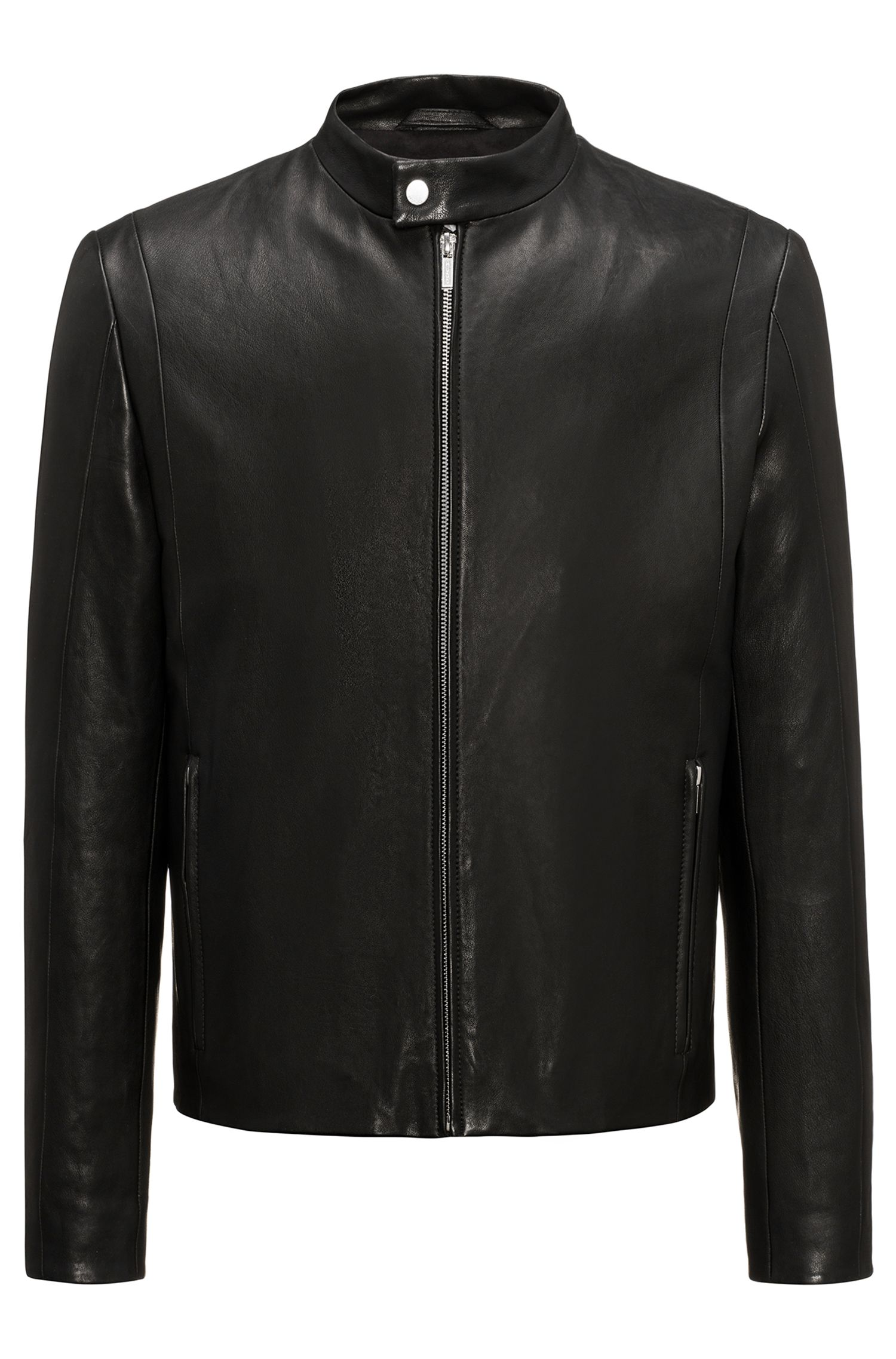 Streamlined lambskin nappa leather jacket in a slim fit