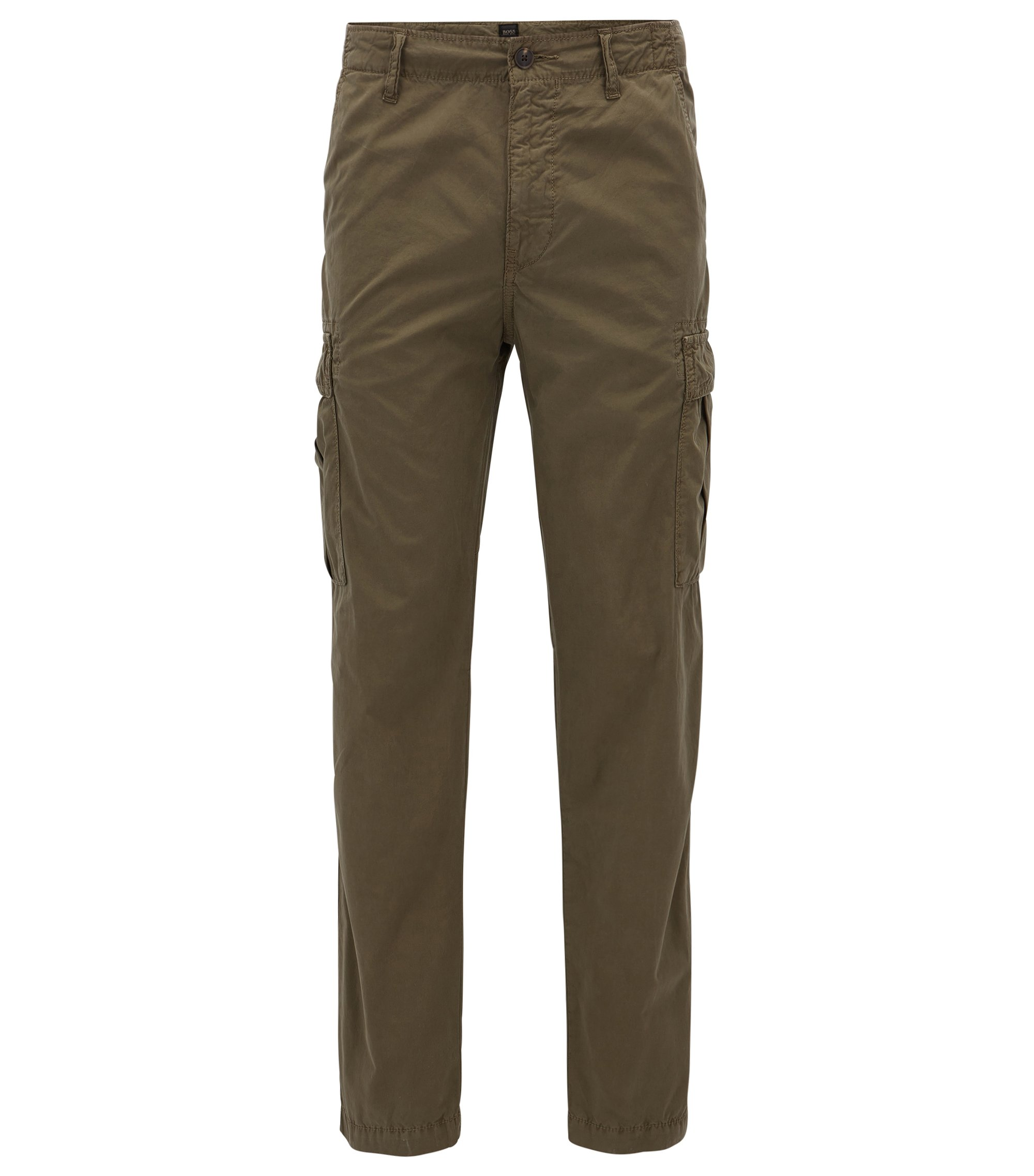 Pantalon cargo Tapered Fit en popeline de coton, Vert sombre