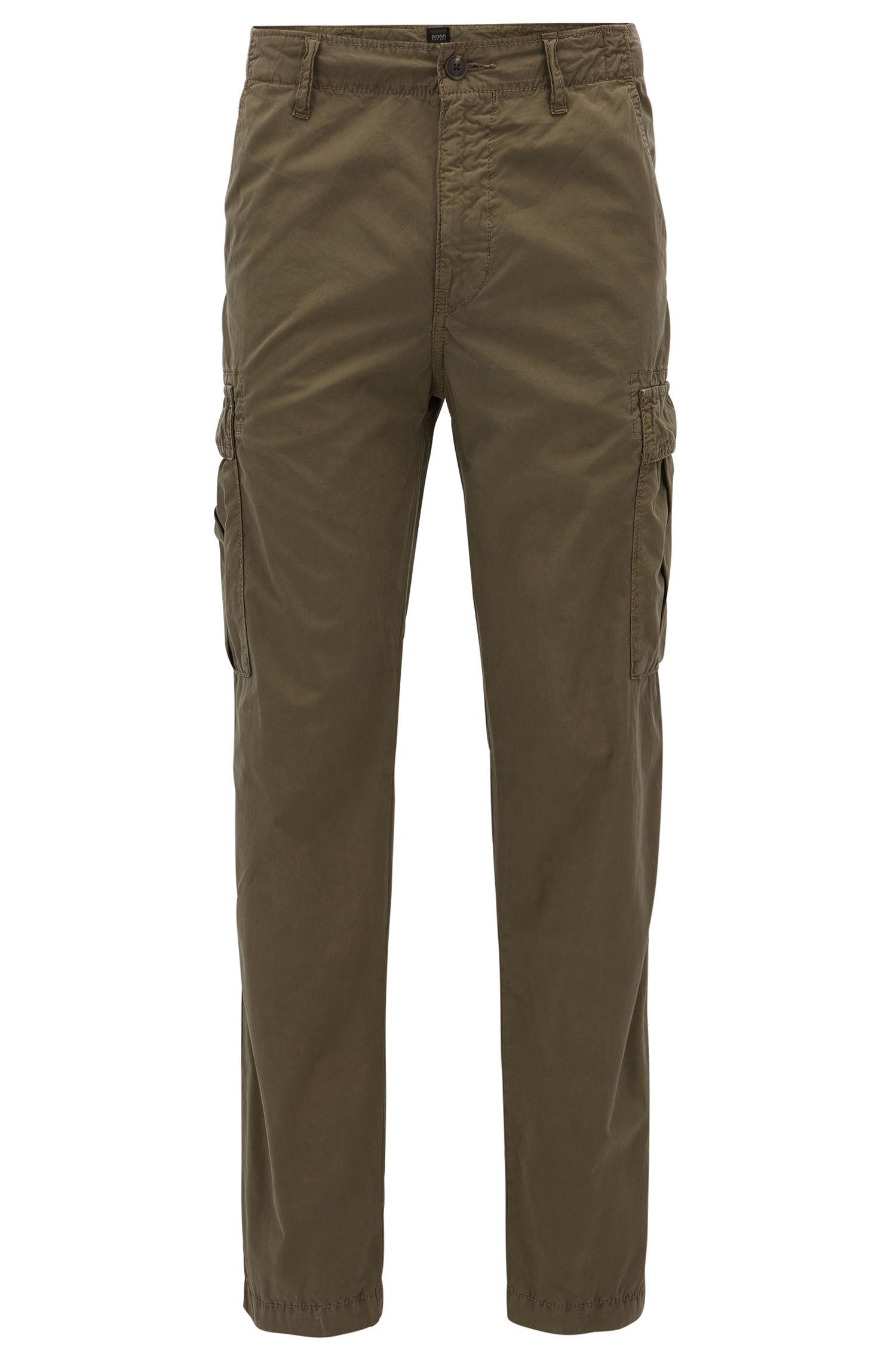 Tapered-fit cargo trousers in cotton poplin