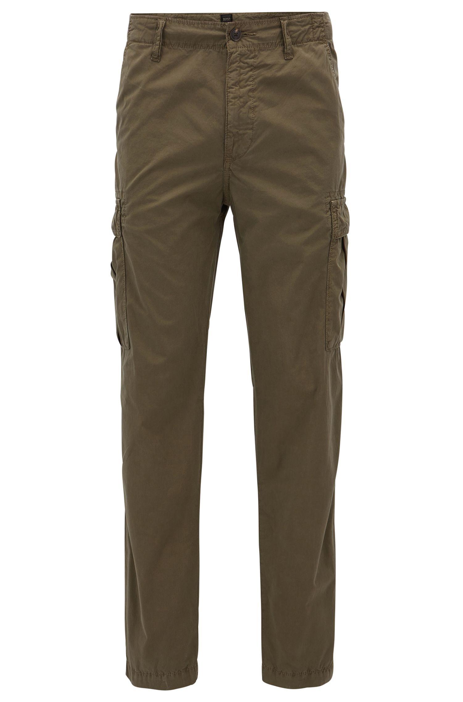 Pantalones cargo tapered fit en popelín de algodón