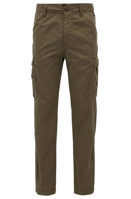 Tapered-fit cargo trousers in cotton poplin BOSS Outlet Websites Quality Original Online Good Selling Online JMkcI4r
