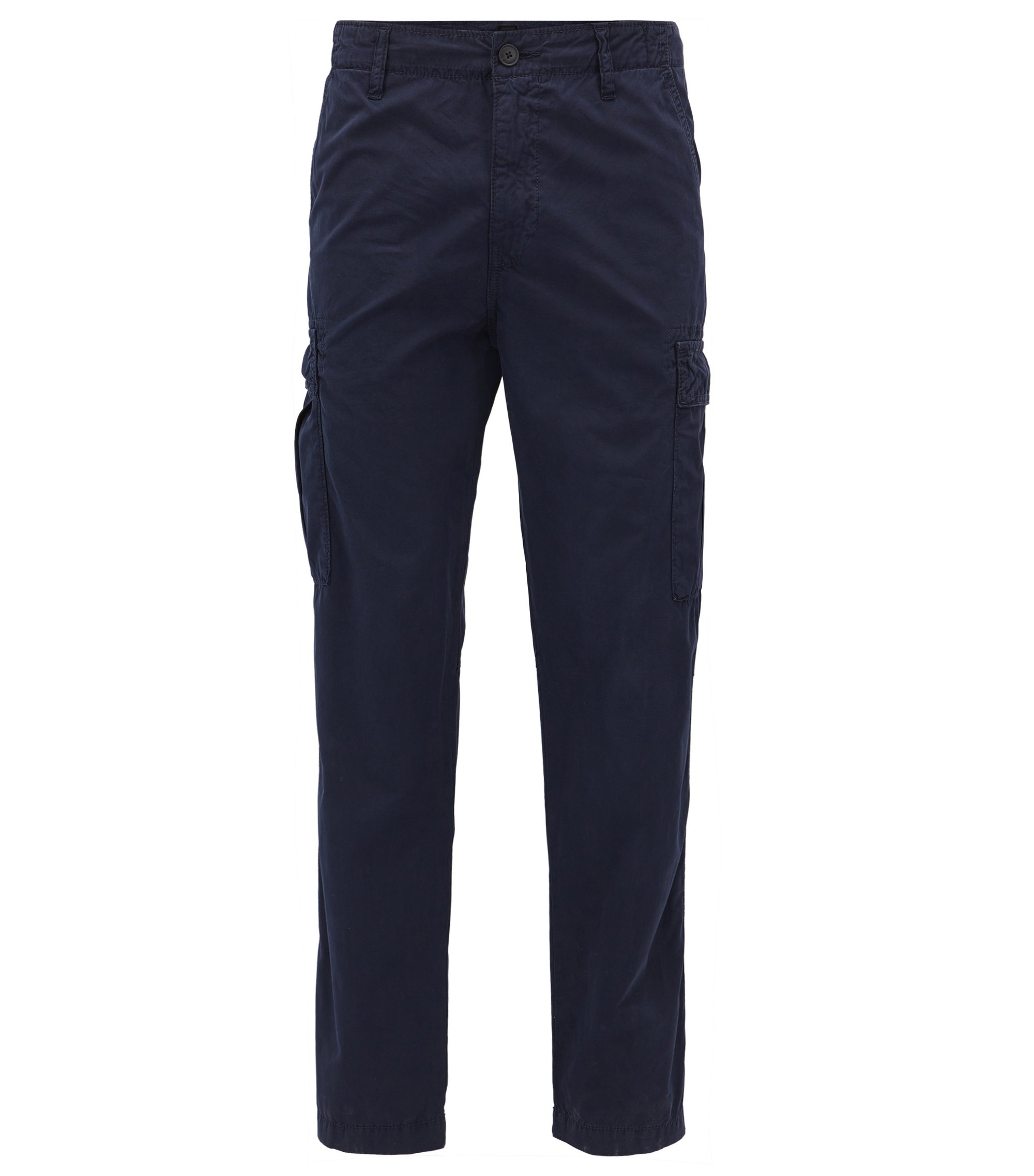 Tapered-fit cargo trousers in cotton poplin, Dark Blue