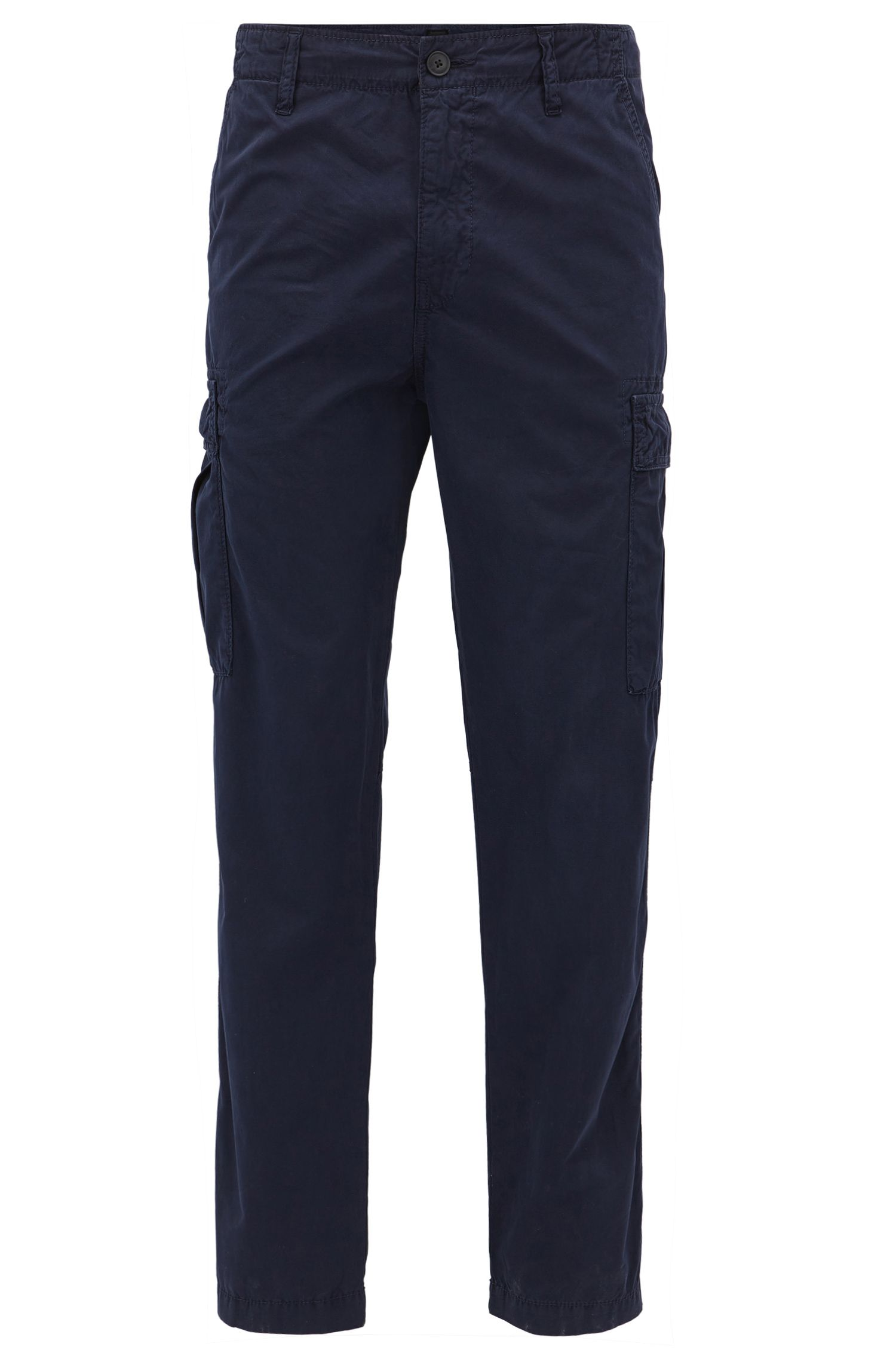 Pantaloni cargo tapered fit in popeline di cotone