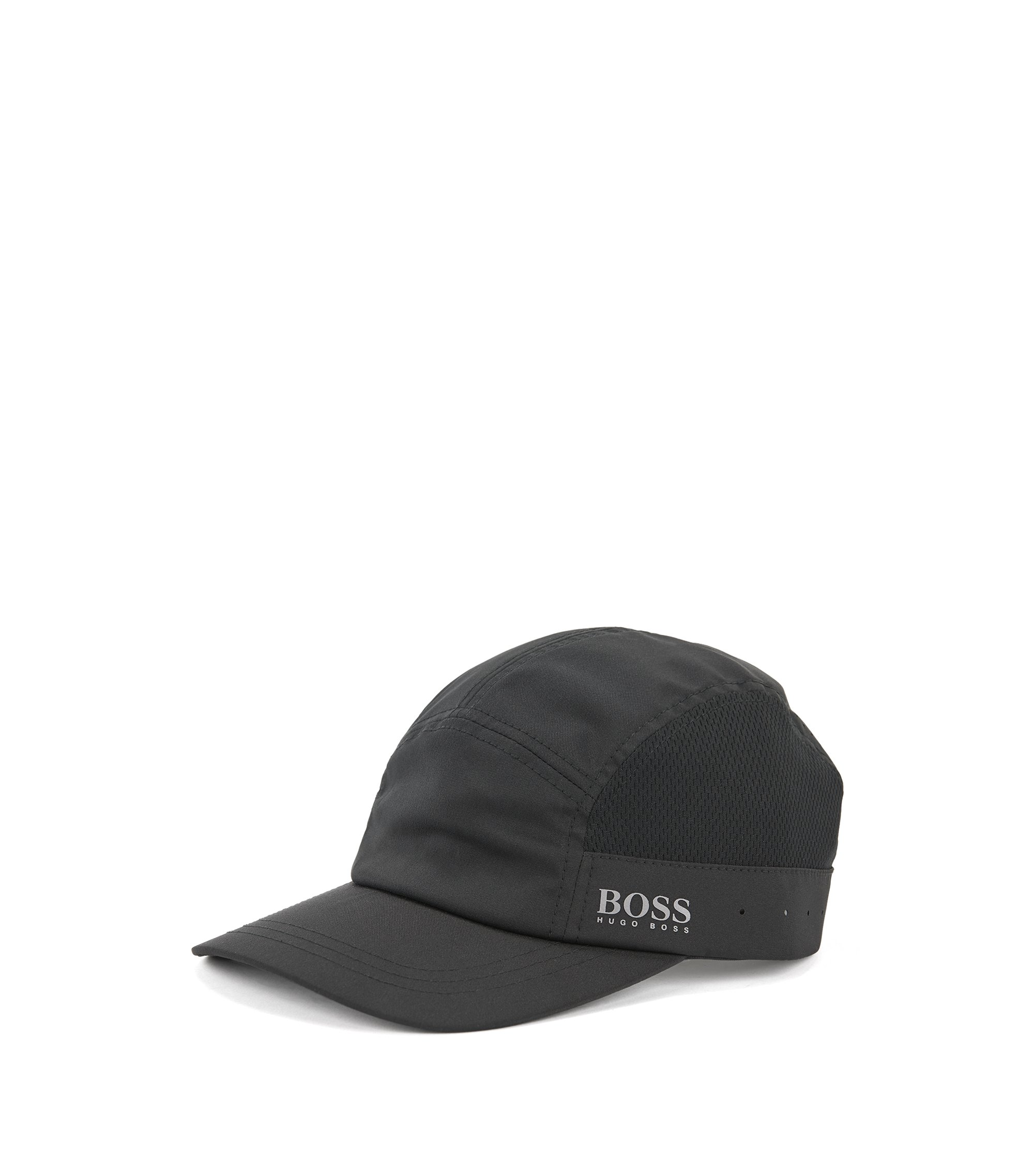 Lightweight baseball cap with mesh panels, Black