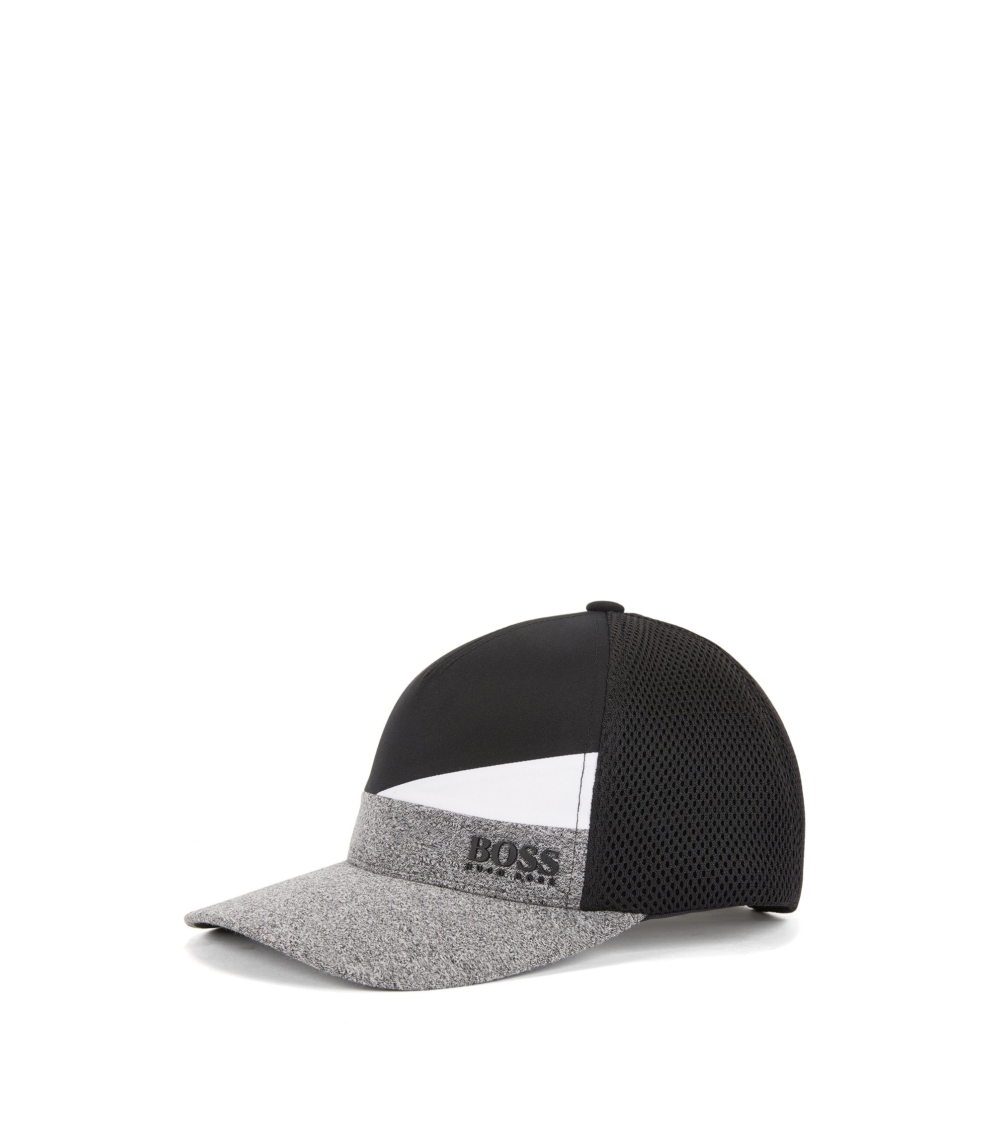 Colourblock baseball cap with mixed technical fabrics, Black