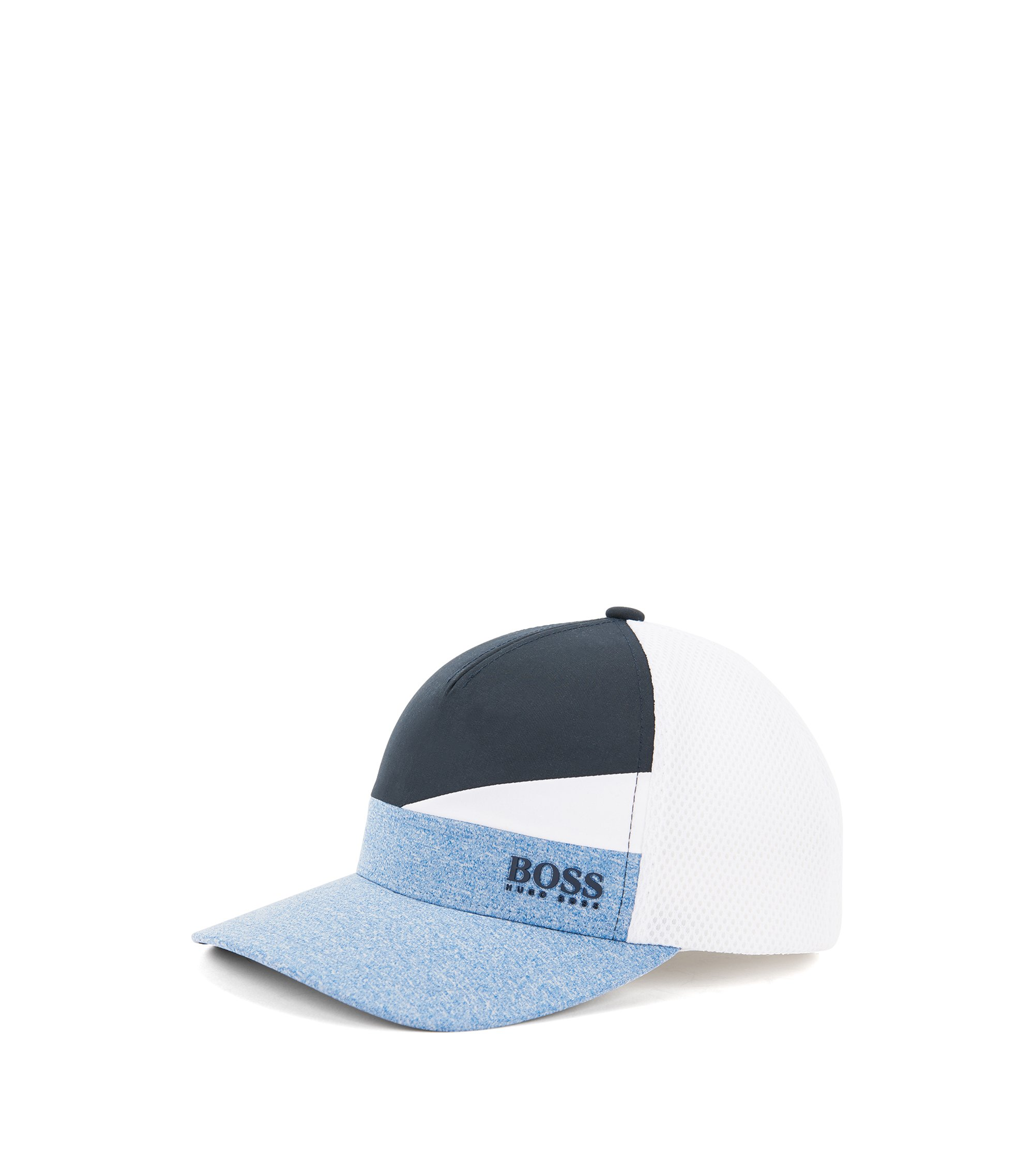 Colourblock baseball cap with mixed technical fabrics, Blue