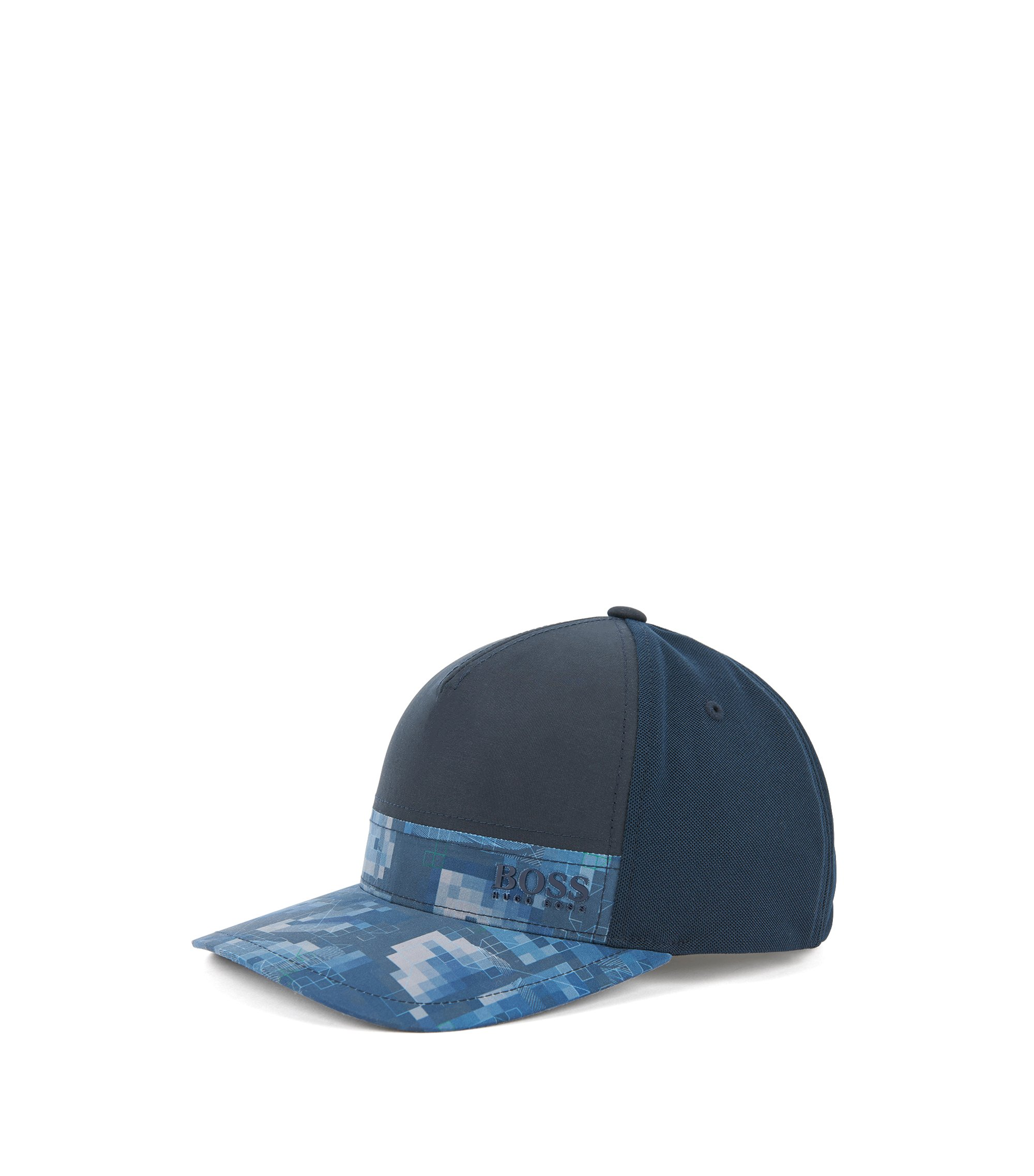 Colour-block baseball cap with print detail, Dark Blue
